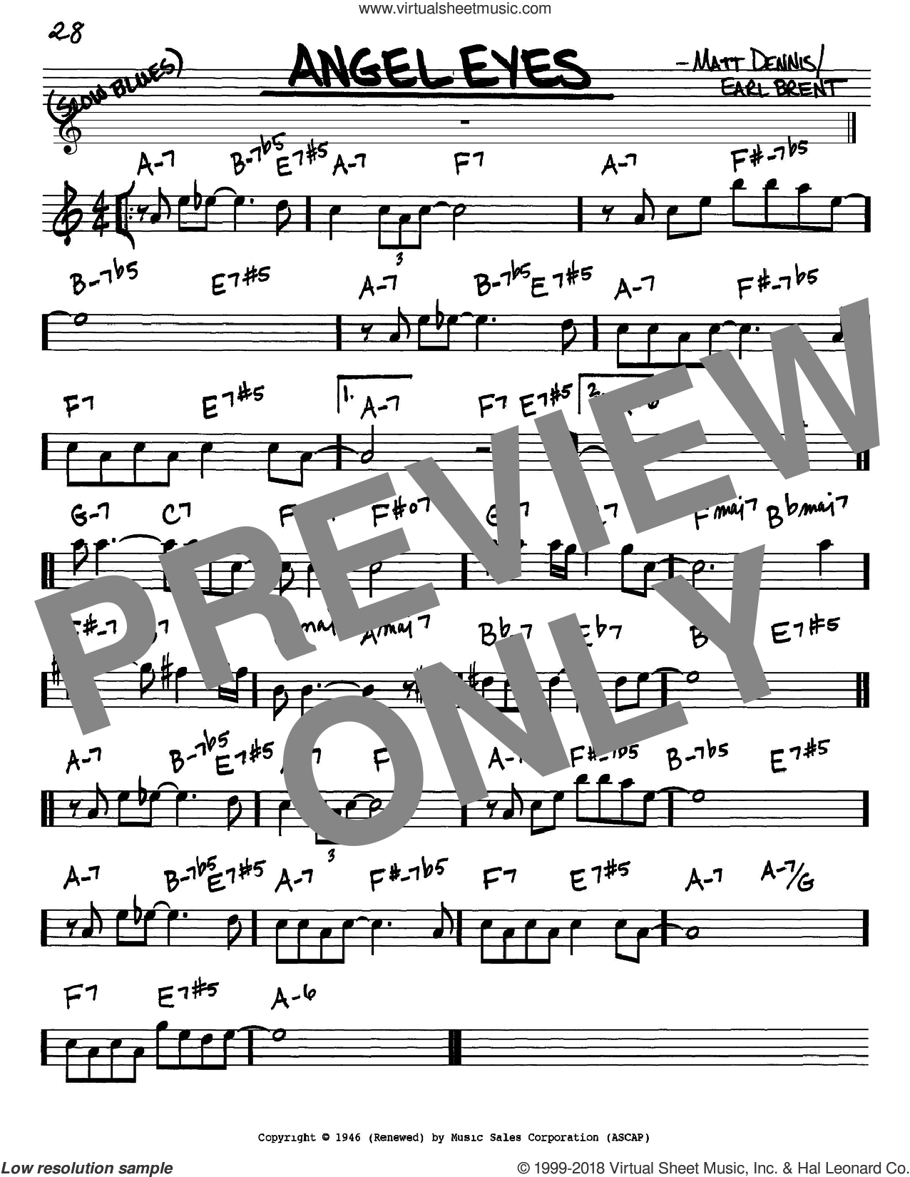 Angel Eyes sheet music for voice and other instruments (in Eb) by Frank Sinatra, Earl Brent and Matt Dennis, intermediate skill level