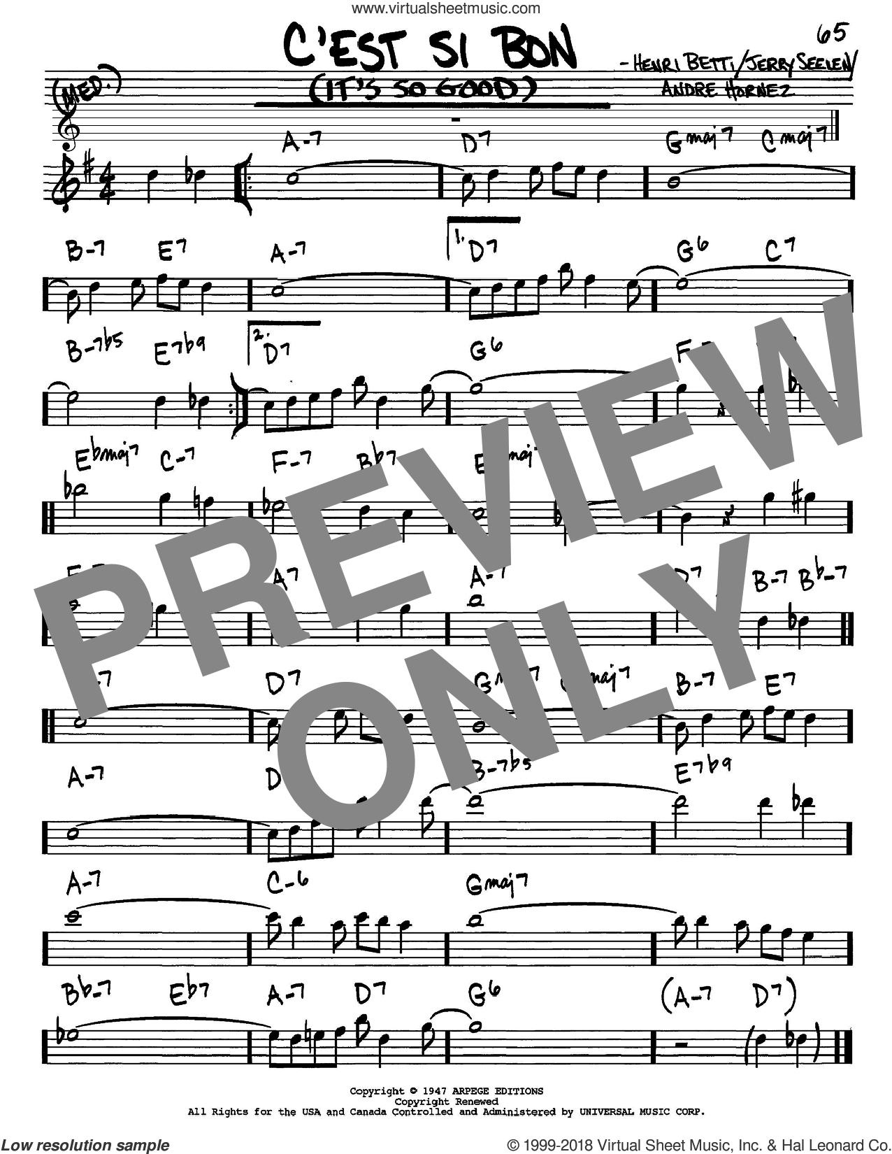 C'est Si Bon (It's So Good) sheet music for voice and other instruments (in Eb) by Eartha Kitt and Henri Betti, intermediate