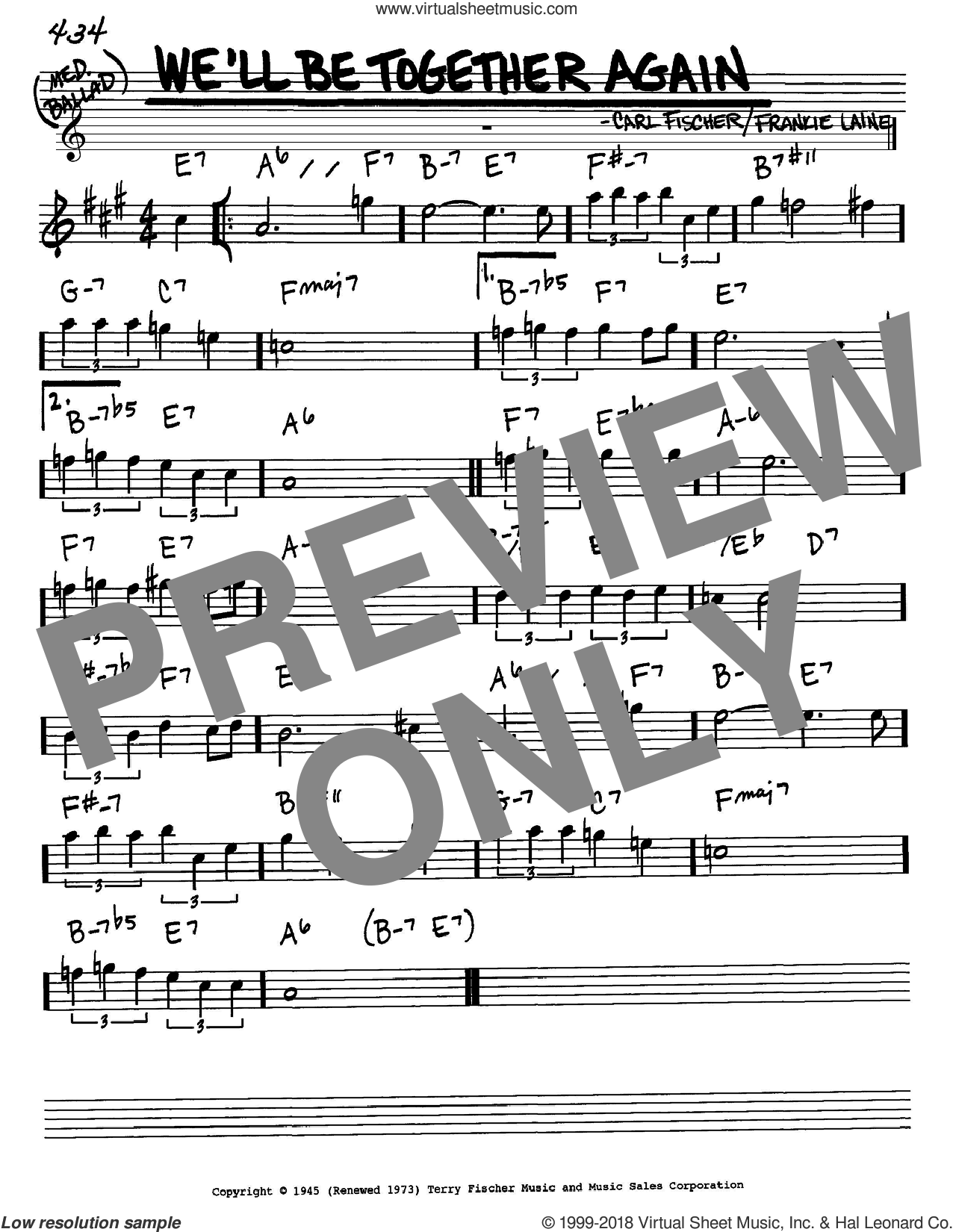 We'll Be Together Again sheet music for voice and other instruments (Eb) by Frankie Laine and Carl Fischer, intermediate voice. Score Image Preview.