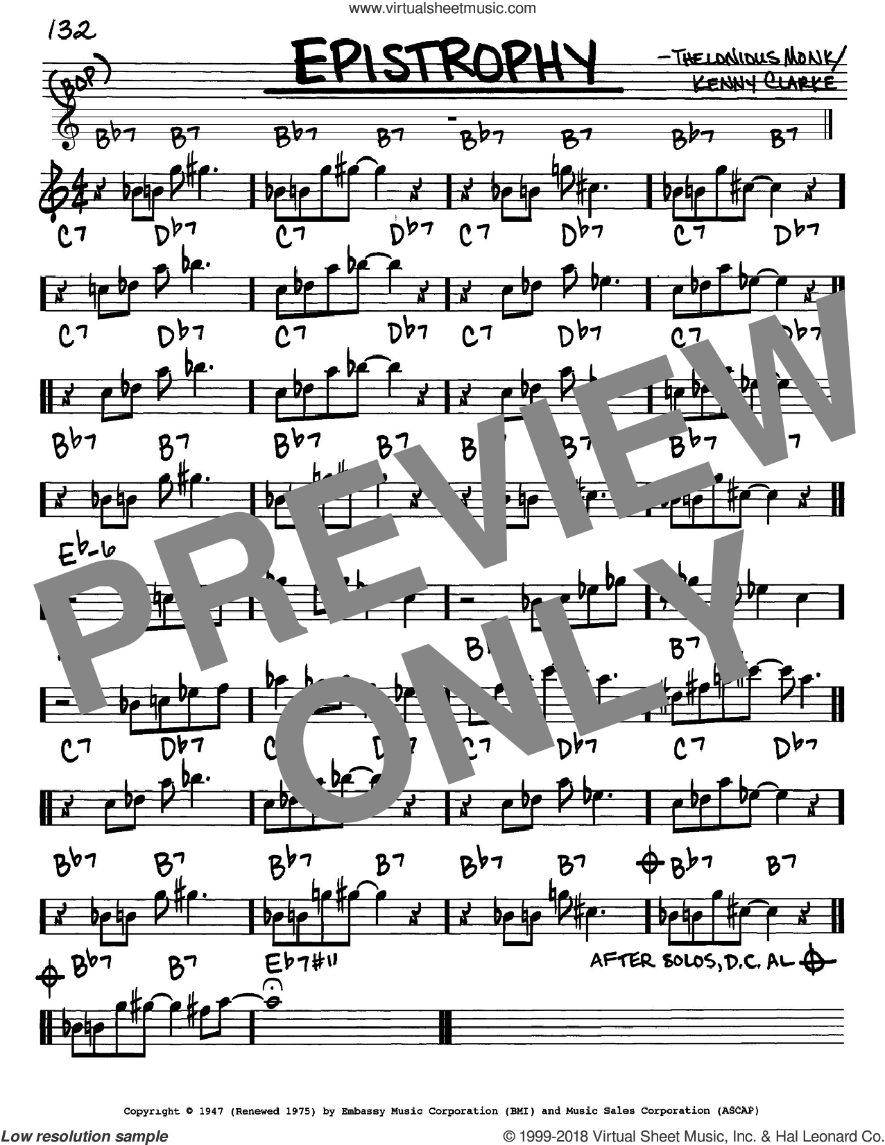 Epistrophy sheet music for voice and other instruments (Eb) by Kenny Clarke and Thelonious Monk. Score Image Preview.