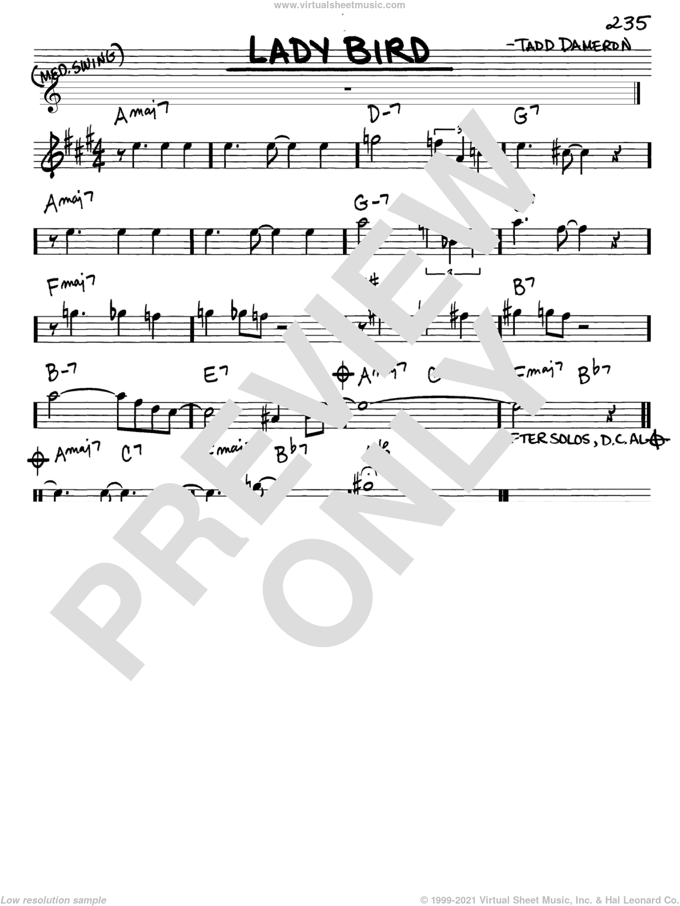 Lady Bird sheet music for voice and other instruments (Eb) by Miles Davis and Tadd Dameron, intermediate voice. Score Image Preview.