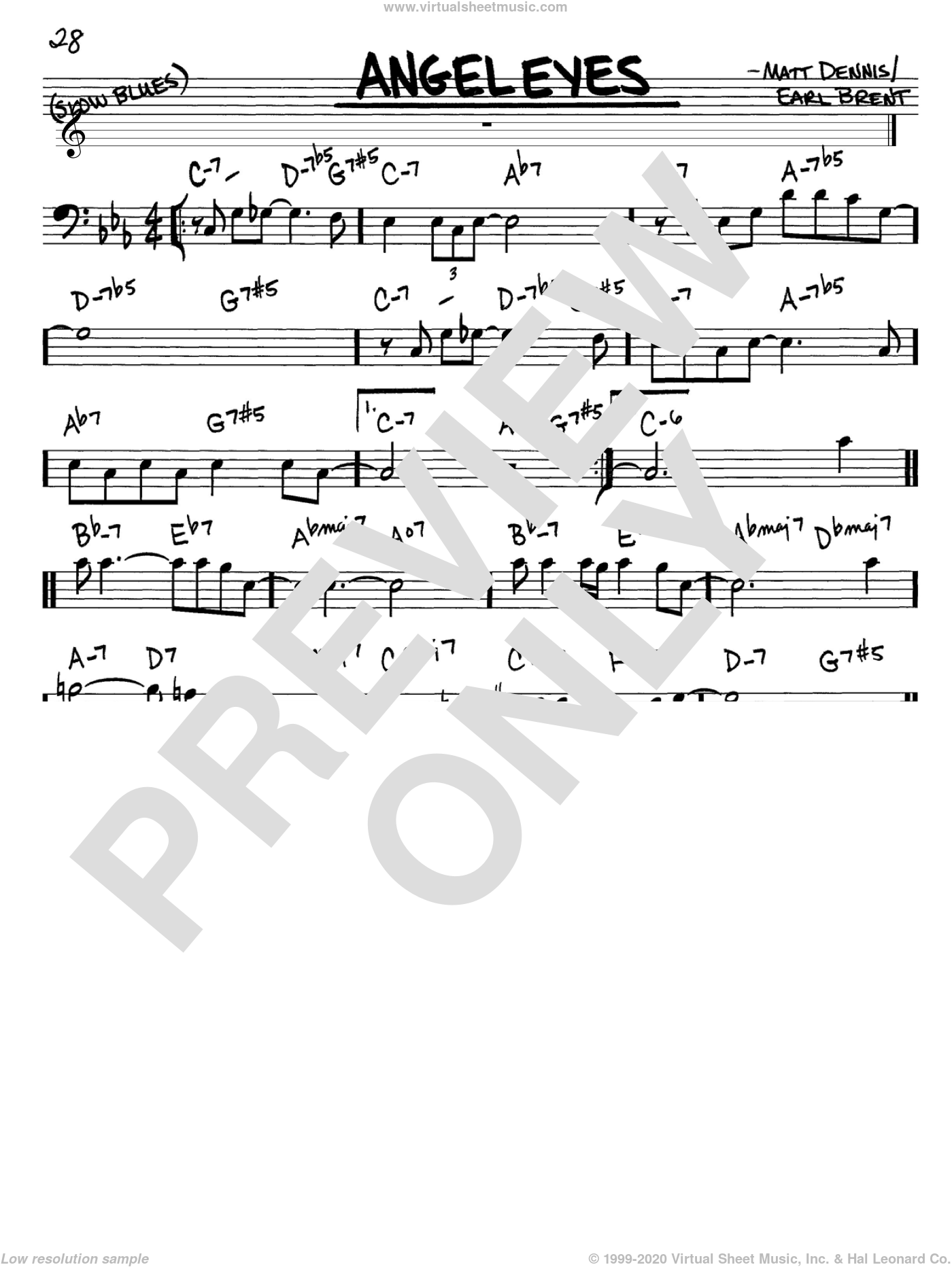 Angel Eyes sheet music for voice and other instruments (Bass Clef ) by Matt Dennis, Frank Sinatra and Earl Brent. Score Image Preview.
