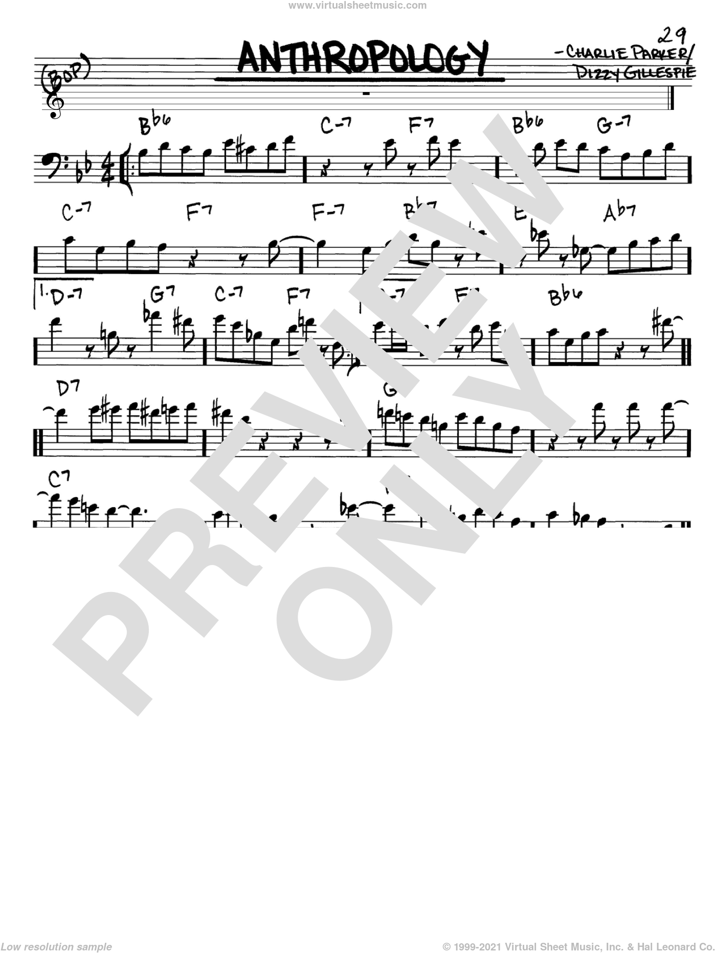 Anthropology sheet music for voice and other instruments (Bass Clef ) by Charlie Parker and Dizzy Gillespie. Score Image Preview.