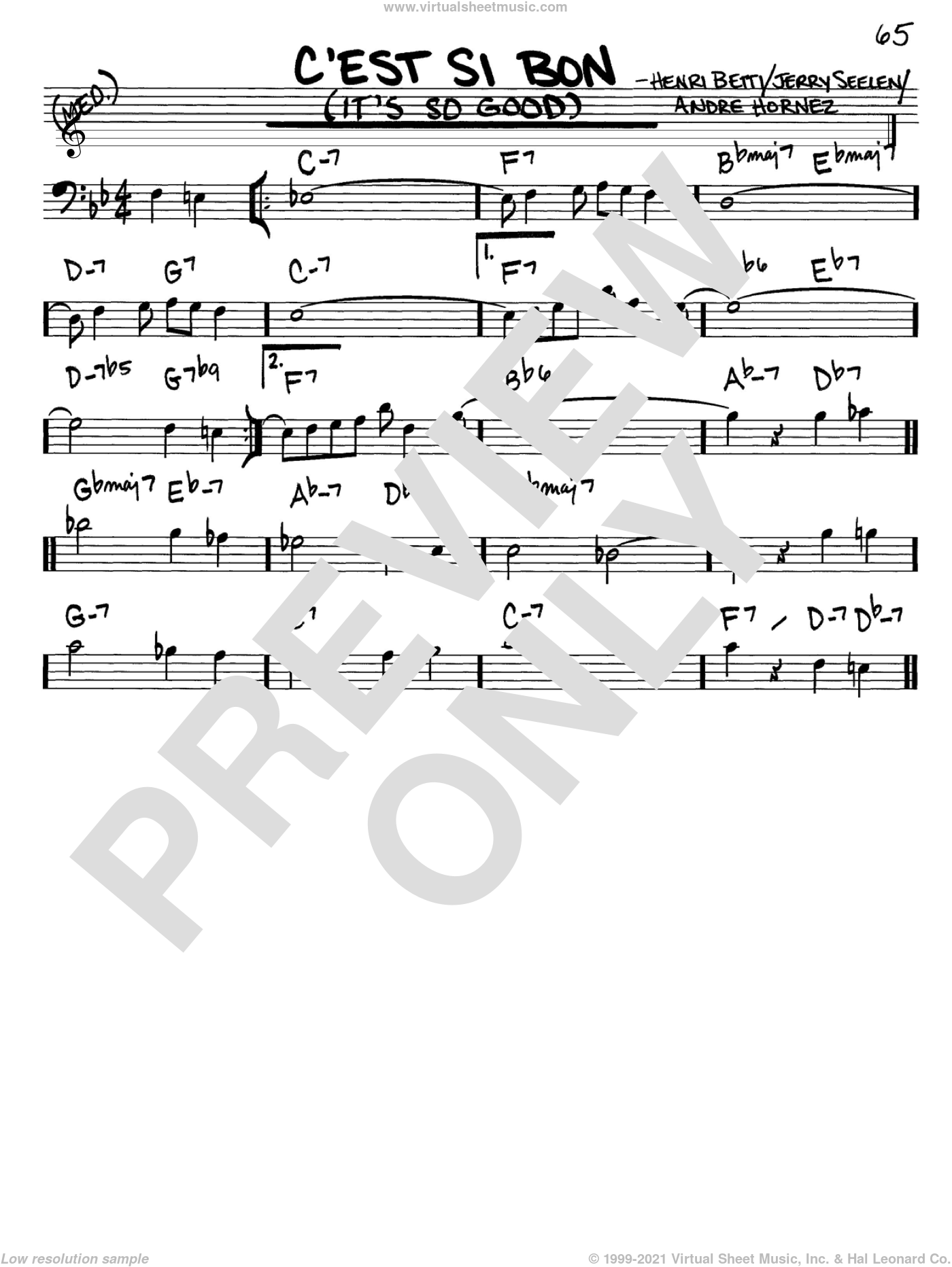 C'est Si Bon (It's So Good) sheet music for voice and other instruments (bass clef) by Eartha Kitt, Andre Hornez, Henri Betti and Jerry Seelen, intermediate skill level