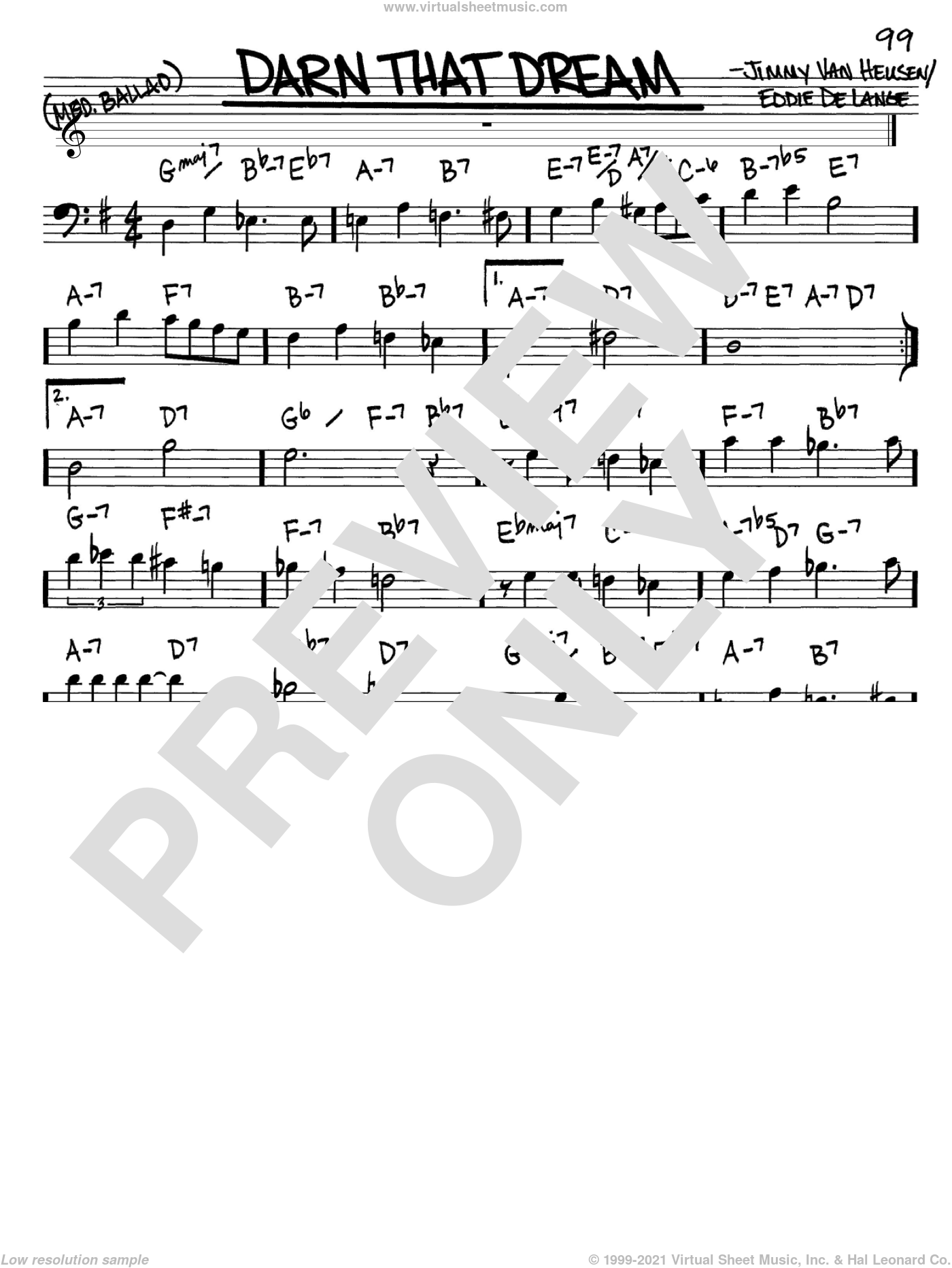 Darn That Dream sheet music for voice and other instruments (Bass Clef ) by Jimmy Van Heusen and Eddie DeLange