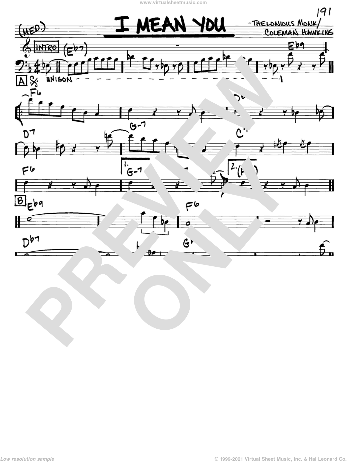 I Mean You sheet music for voice and other instruments (Bass Clef ) by Thelonious Monk