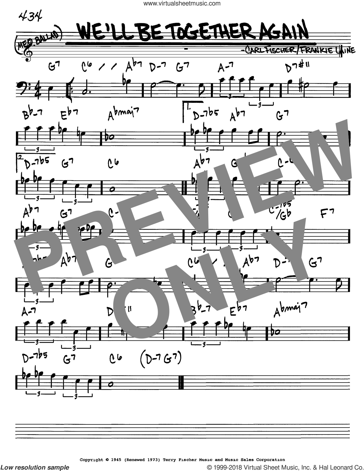 We'll Be Together Again sheet music for voice and other instruments (bass clef) by Frankie Laine and Carl Fischer, intermediate skill level