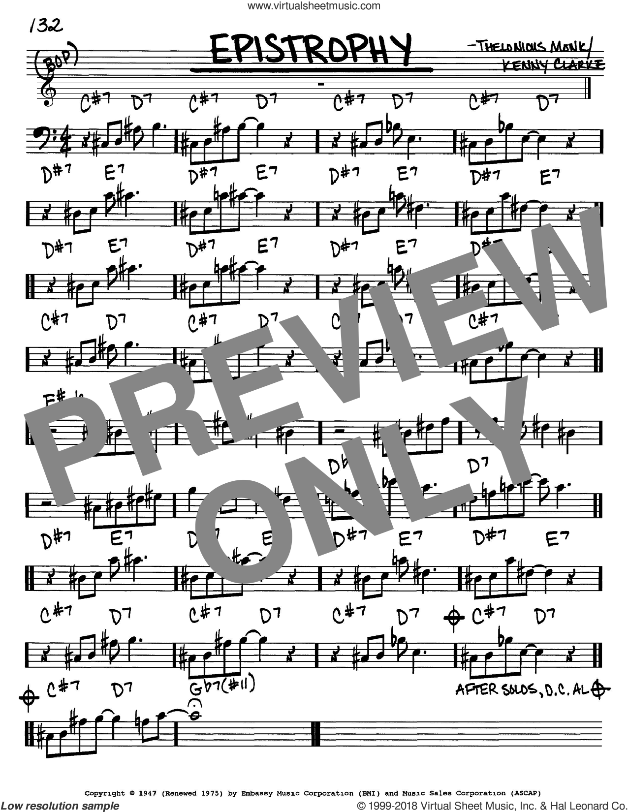 Epistrophy sheet music for voice and other instruments (Bass Clef ) by Kenny Clarke