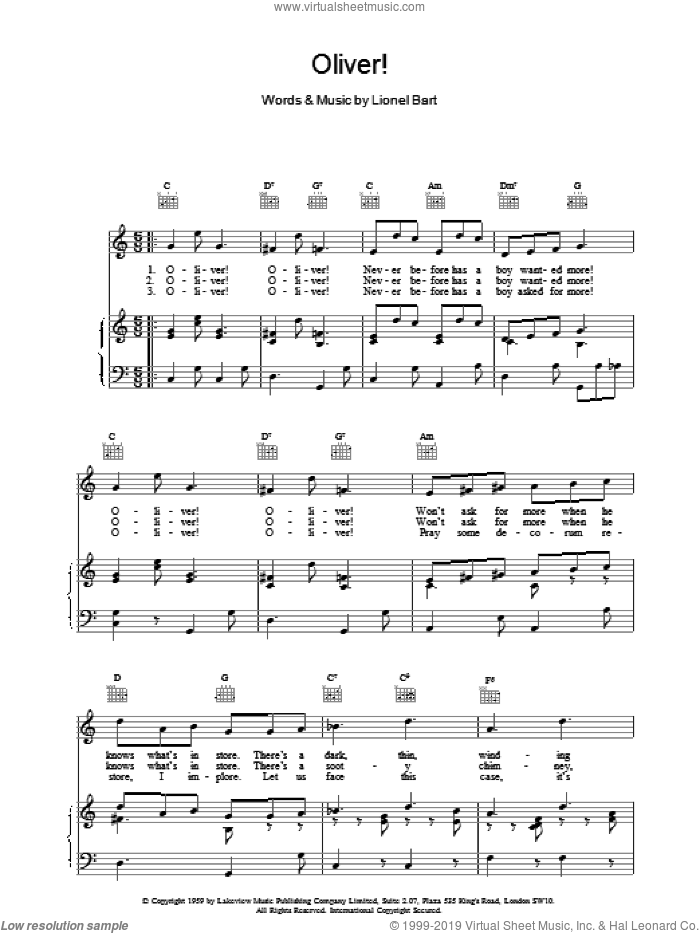 Oliver! sheet music for voice, piano or guitar by Lionel Bart. Score Image Preview.