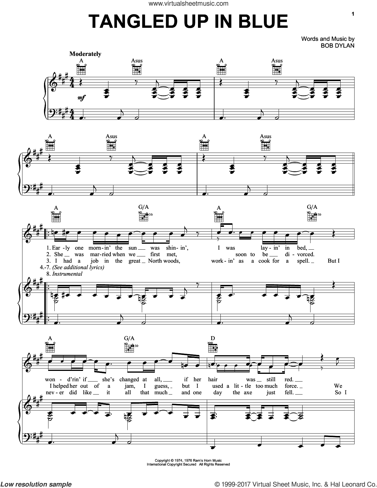 Tangled Up In Blue sheet music for voice, piano or guitar by Bob Dylan, intermediate skill level
