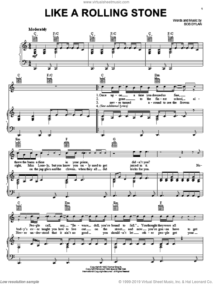 Like A Rolling Stone sheet music for voice, piano or guitar by Bob Dylan, intermediate voice, piano or guitar. Score Image Preview.
