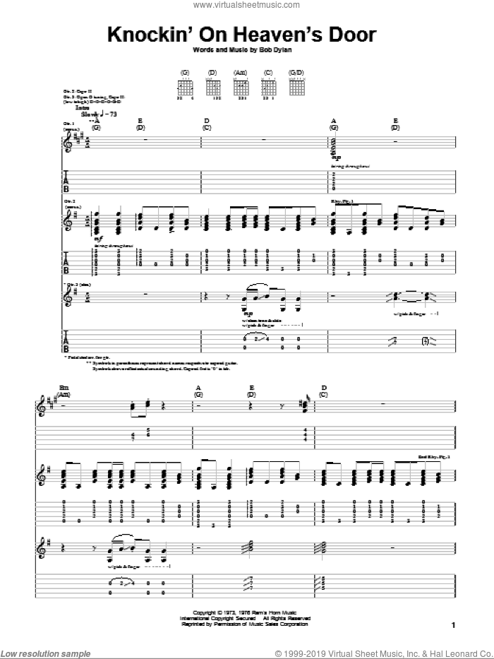 Knockin' On Heaven's Door sheet music for guitar (tablature) by Eric Clapton and Bob Dylan, intermediate. Score Image Preview.