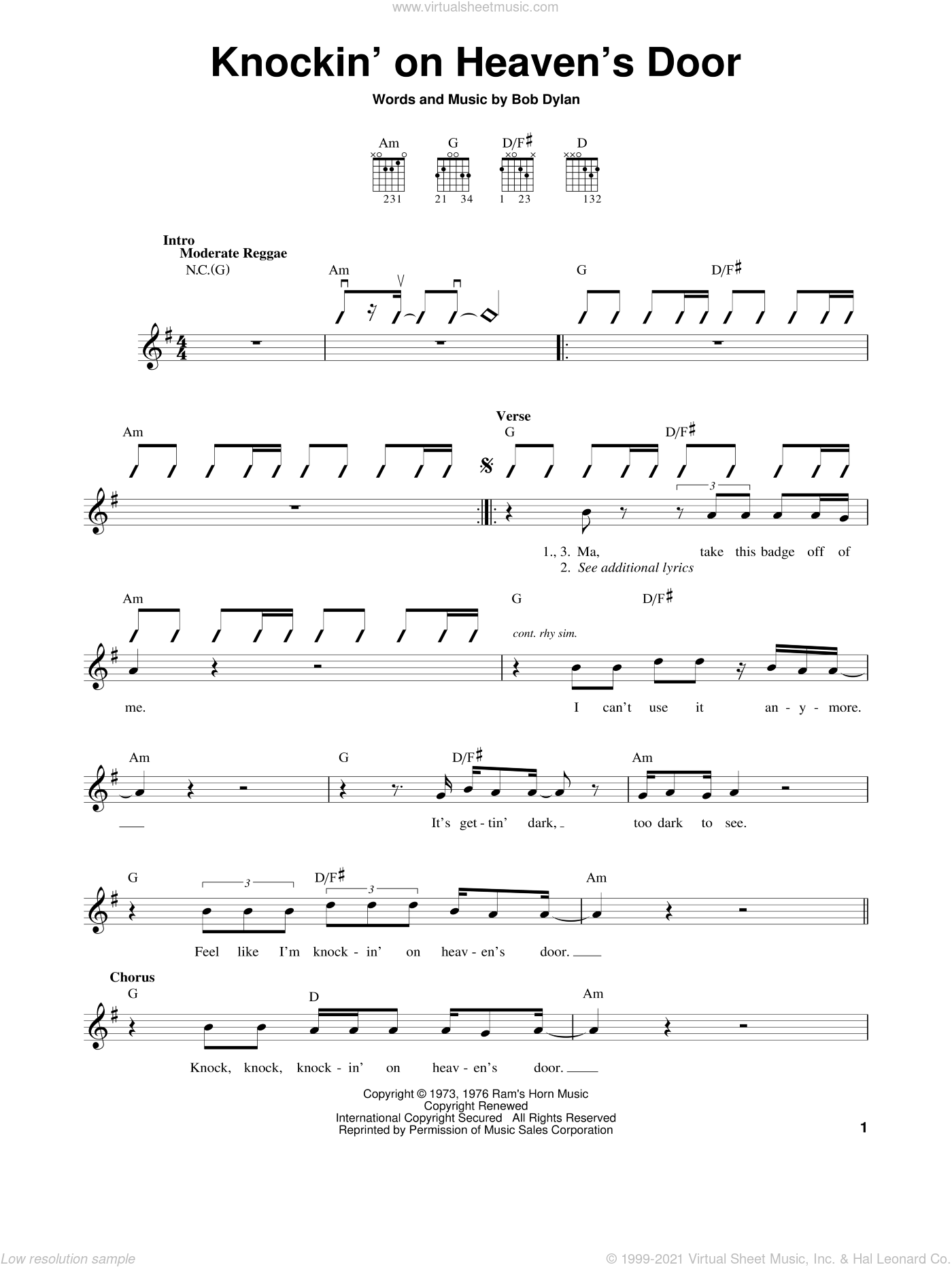 Knockin' On Heaven's Door sheet music for guitar solo (chords) by Eric Clapton and Bob Dylan, easy guitar (chords)