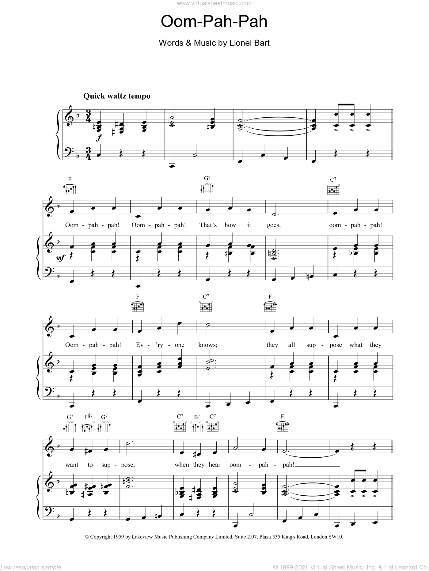 Oom-Pah-Pah sheet music for voice, piano or guitar by Lionel Bart. Score Image Preview.