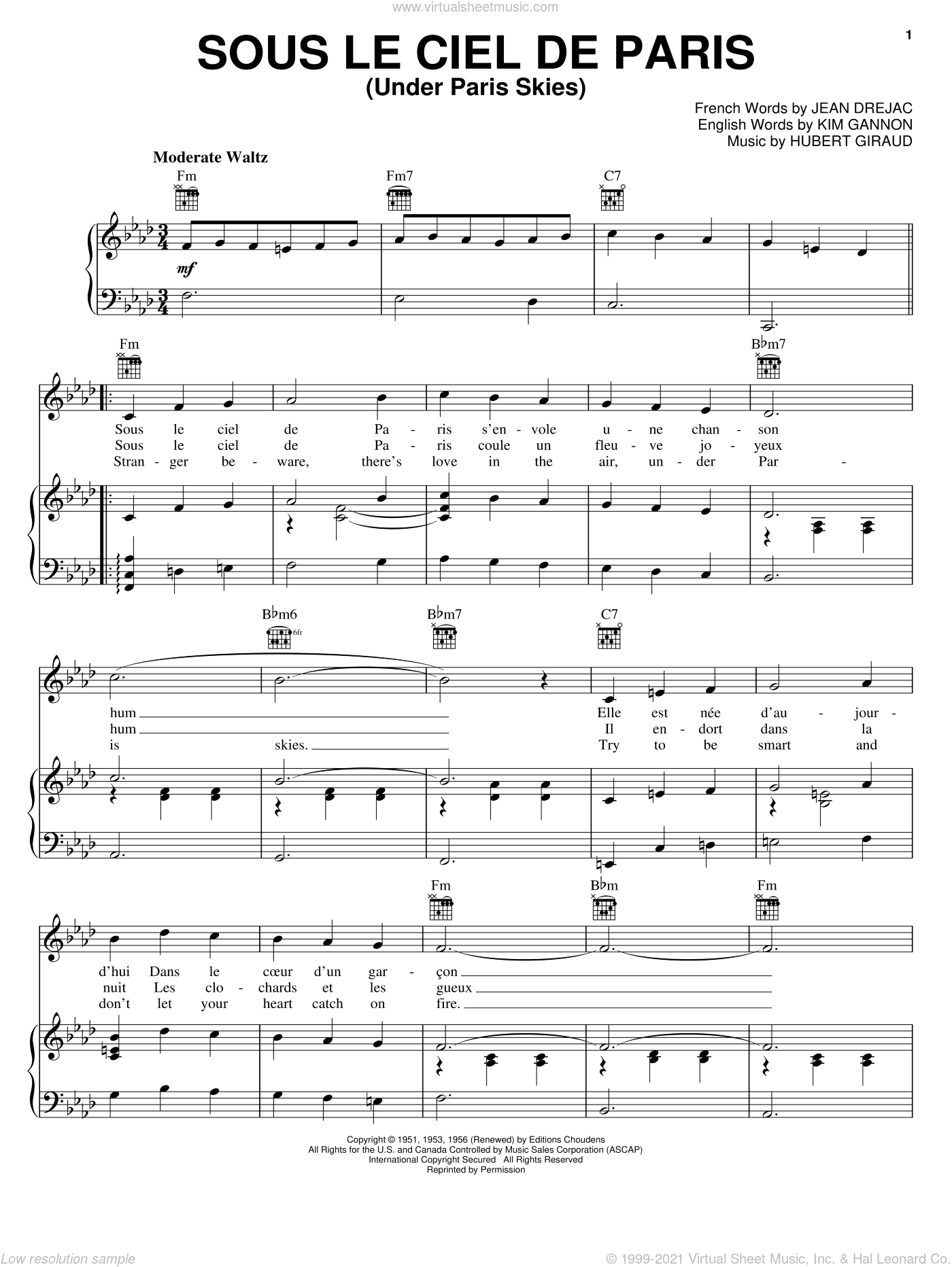 Under Paris Skies sheet music for voice, piano or guitar by Kim Gannon, intermediate voice, piano or guitar. Score Image Preview.