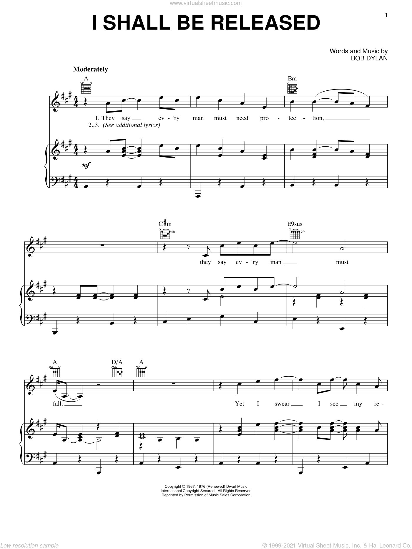 I Shall Be Released sheet music for voice, piano or guitar by Bob Dylan, intermediate. Score Image Preview.