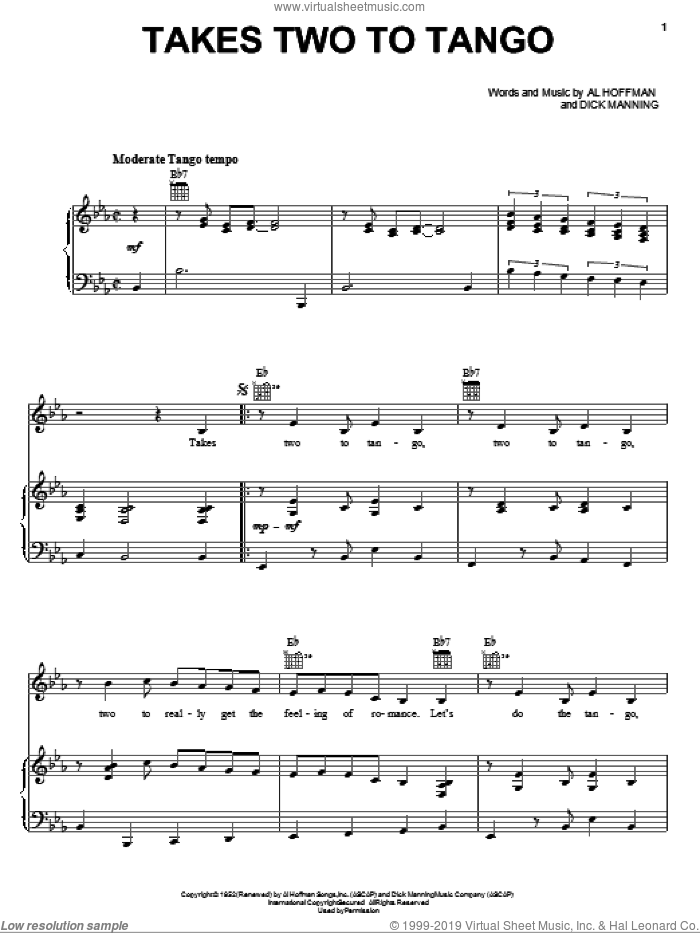 Takes Two To Tango sheet music for voice, piano or guitar by Pearl Bailey, Al Hoffman and Dick Manning, intermediate skill level