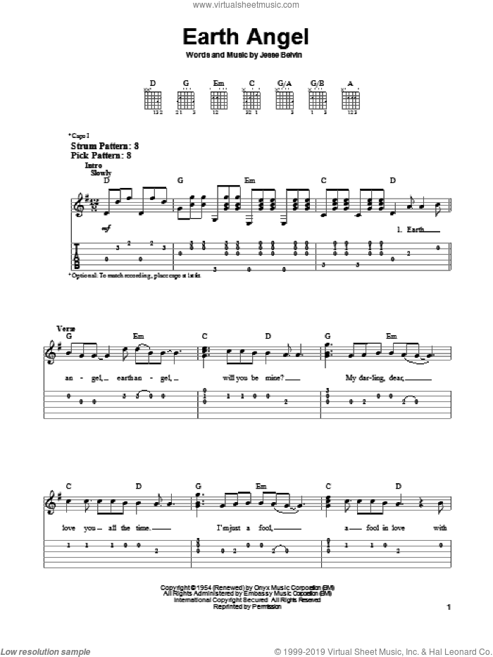 Earth Angel sheet music for guitar solo (easy tablature) by The Crew-Cuts, The Penguins and Jesse Belvin, easy guitar (easy tablature)