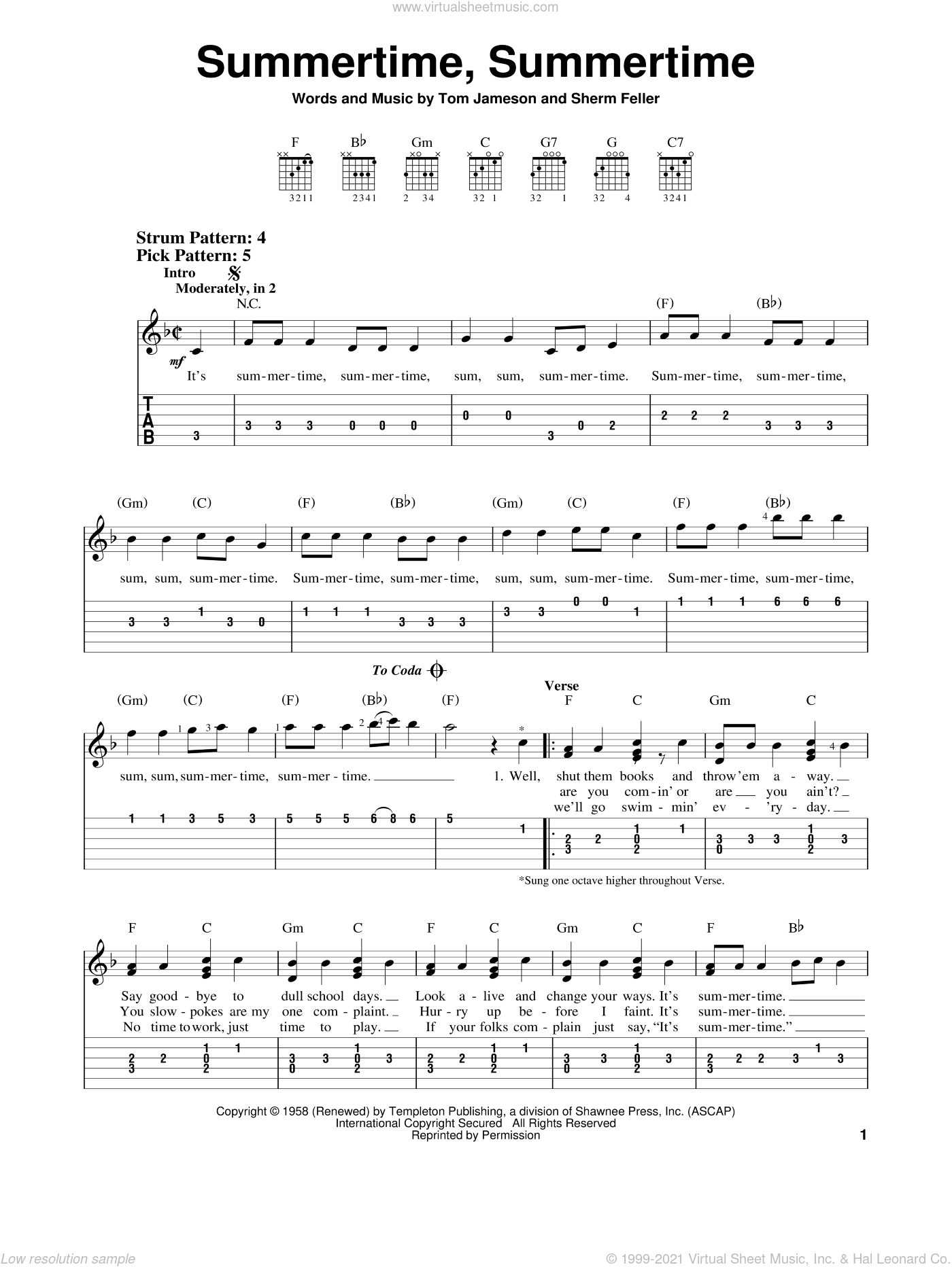 Summertime, Summertime sheet music for guitar solo (easy tablature) by The Jamies, Sherm Feller and Tom Jameson, easy guitar (easy tablature)