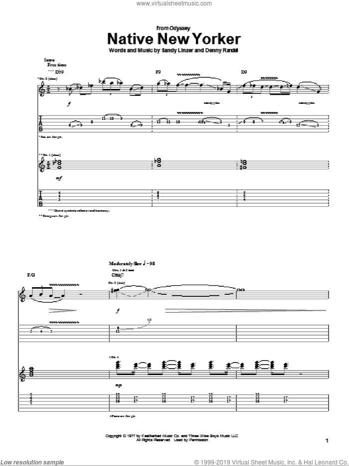 Native New Yorker sheet music for guitar (tablature) by Odyssey, Denny Randell and Sandy Linzer, intermediate skill level