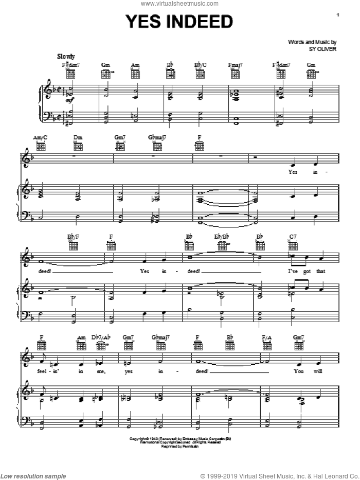 Yes Indeed sheet music for voice, piano or guitar by Sy Oliver