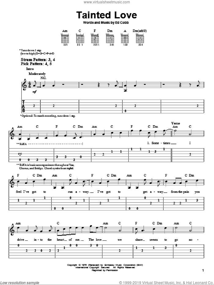 Tainted Love sheet music for guitar solo (easy tablature) by Soft Cell. Score Image Preview.
