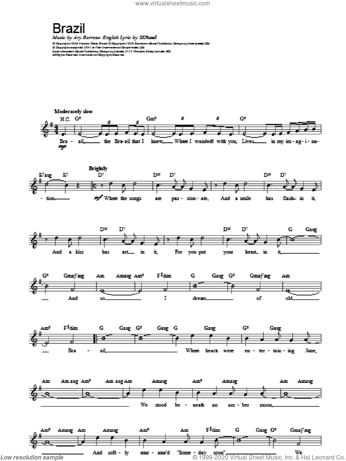 Brazil sheet music for voice and other instruments (fake book) by The Ritchie Family, Ary Barroso and S.K. Russell, intermediate skill level