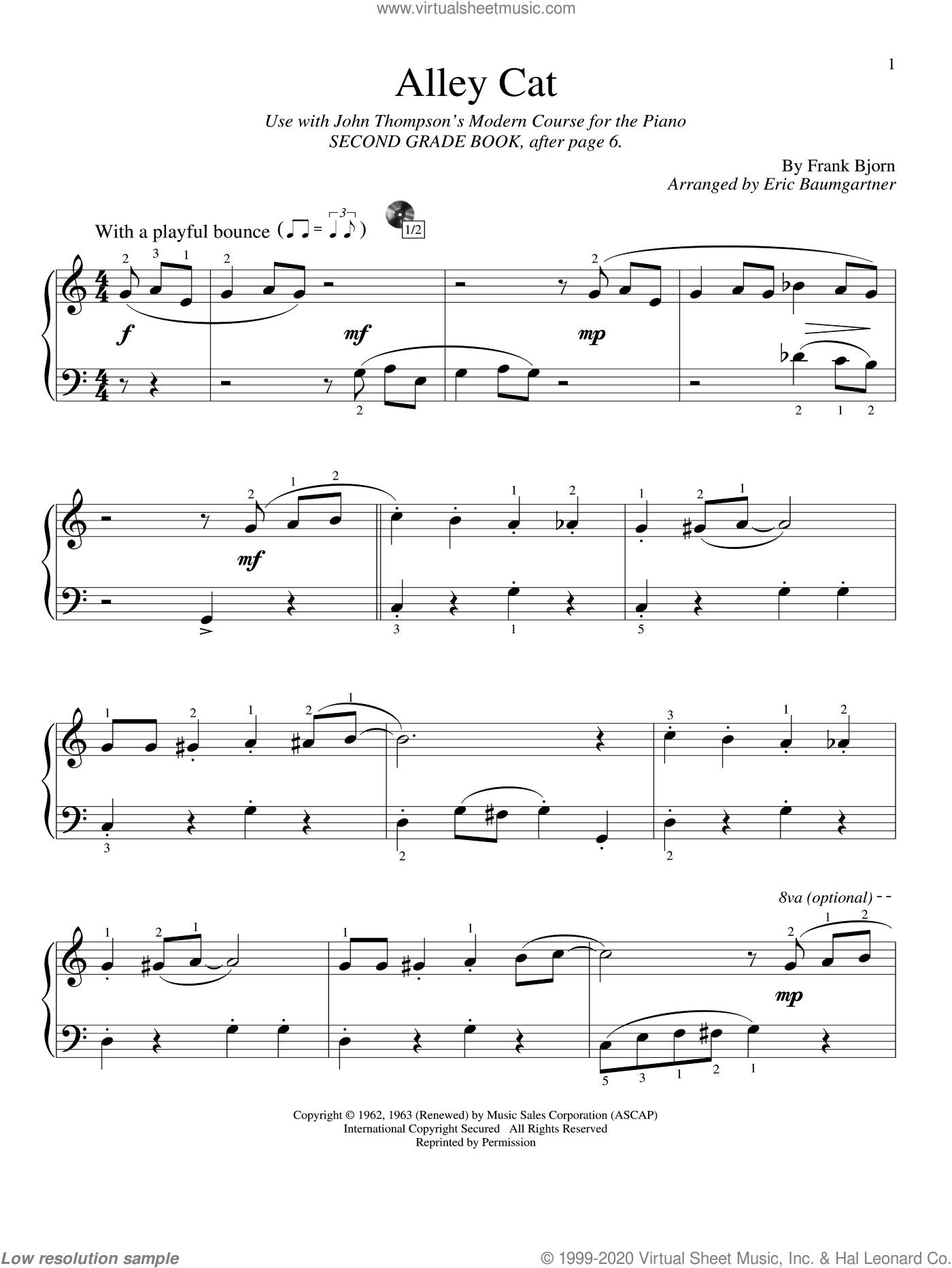 Alley Cat sheet music for piano solo (elementary) by Frank Bjorn and Eric Baumgartner