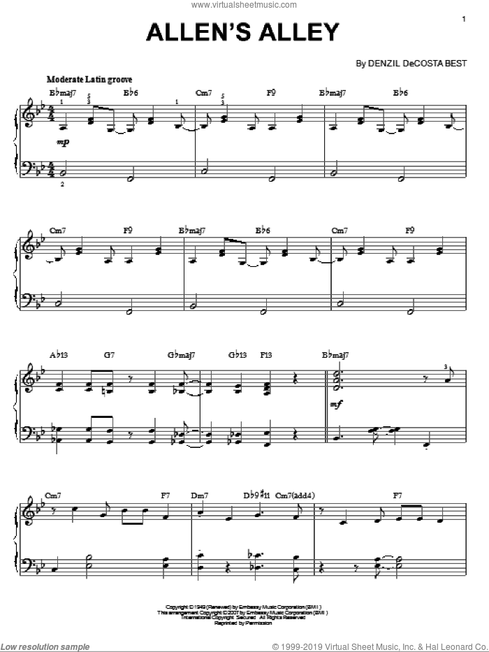 Allen's Alley sheet music for piano solo by Denzil De Costa Best. Score Image Preview.