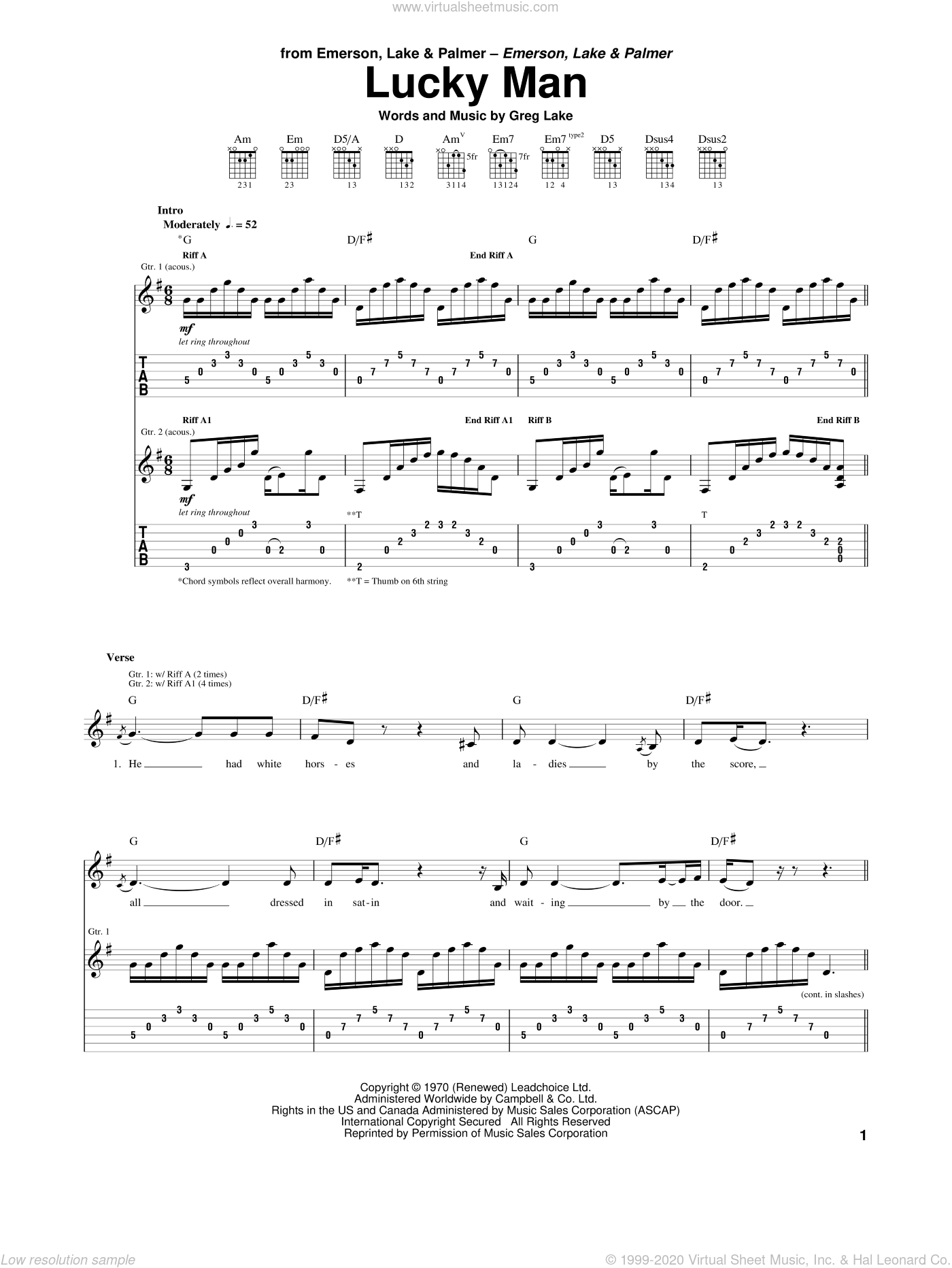Lucky Man sheet music for guitar (tablature) by Emerson, Lake & Palmer and Greg Lake, intermediate