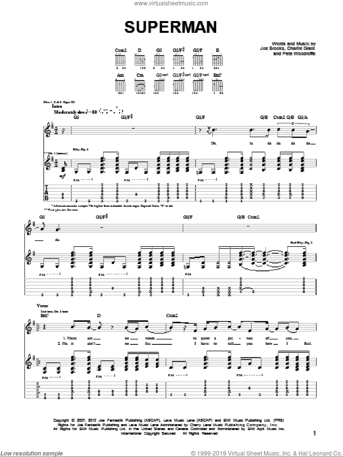 Superman sheet music for guitar (tablature) by Pete Woodroffe and Joseph Brooks. Score Image Preview.