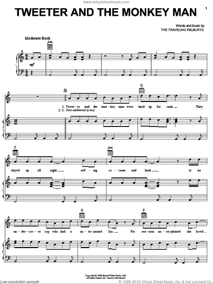 Tweeter And The Monkey Man sheet music for voice, piano or guitar by The Traveling Wilburys, Bob Dylan, George Harrison, Jeff Lynne, Roy Orbison and Tom Petty, intermediate