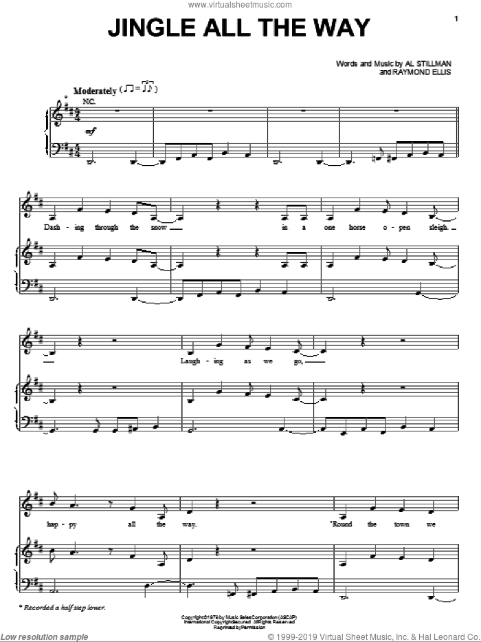 Jingle All The Way sheet music for voice, piano or guitar by Lena Horne and Al Stillman, intermediate. Score Image Preview.