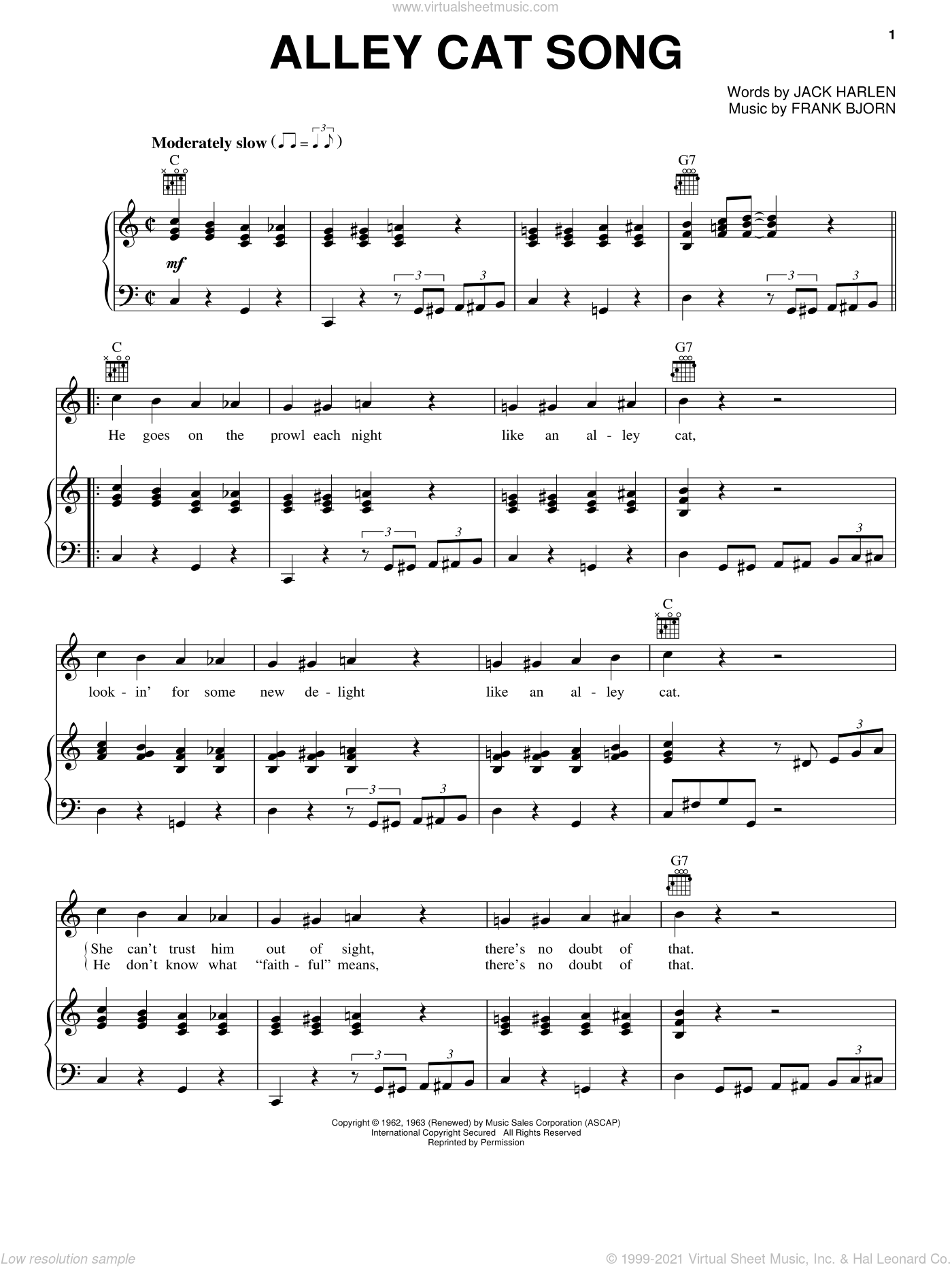 Alley Cat Song sheet music for voice, piano or guitar by Peggy Lee, Frank Bjorn and Jack Harlen, intermediate skill level