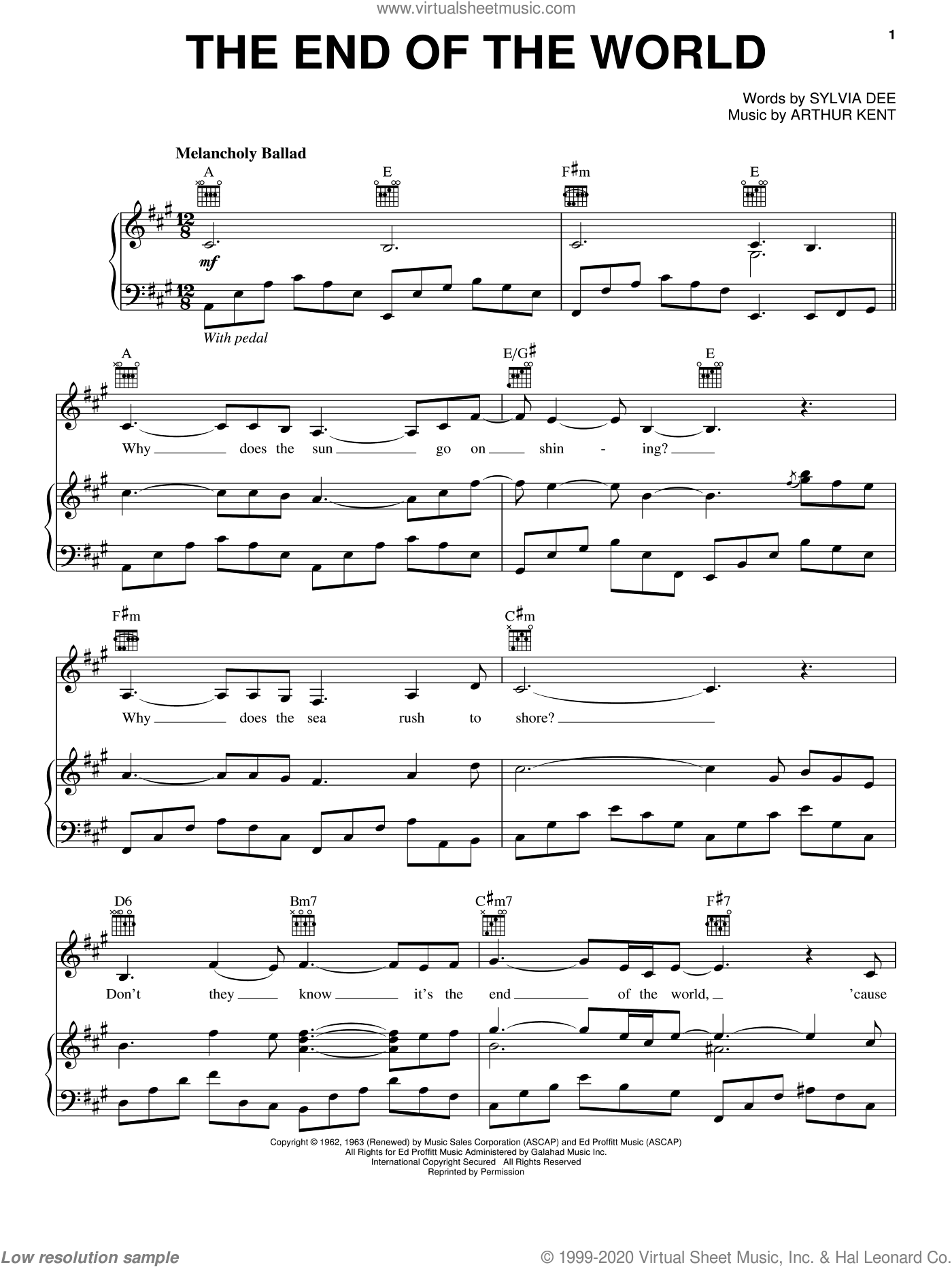 The End Of The World sheet music for voice, piano or guitar by Sylvia Dee