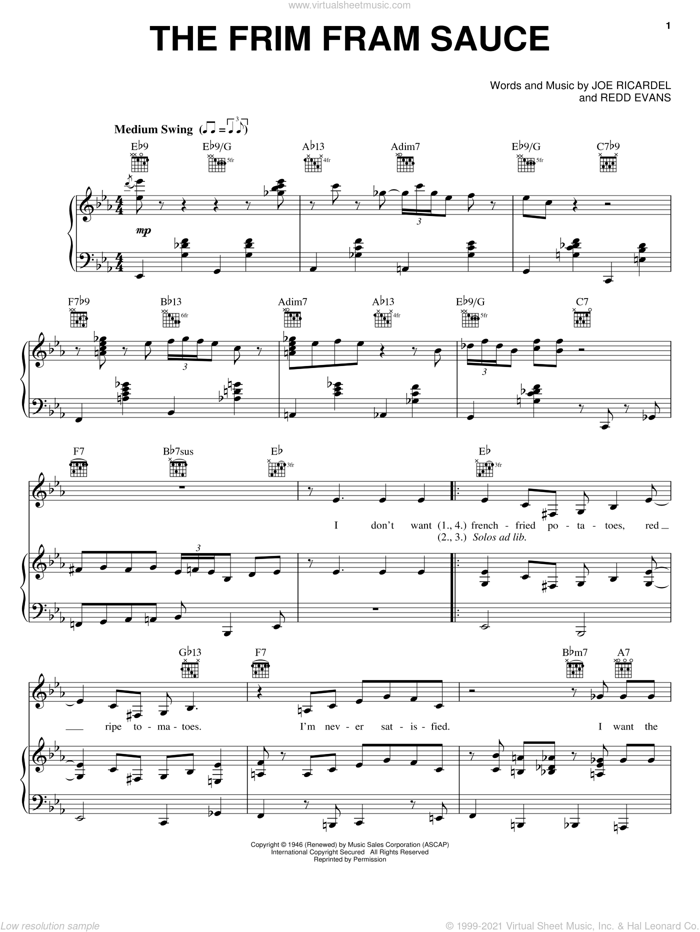 The Frim Fram Sauce sheet music for voice, piano or guitar by Redd Evans, Diana Krall and Nat King Cole. Score Image Preview.