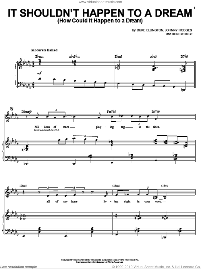 It Shouldn't Happen To A Dream (How Could It Happen To A Dream) sheet music for voice and piano by Sarah Vaughan, Don George, Duke Ellington and Johnny Hodges, intermediate skill level