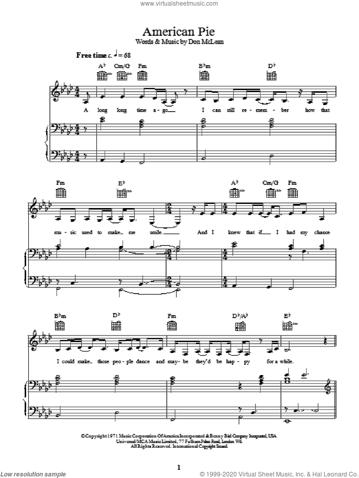 American Pie sheet music for voice, piano or guitar by Madonna and Don McLean, intermediate voice, piano or guitar. Score Image Preview.