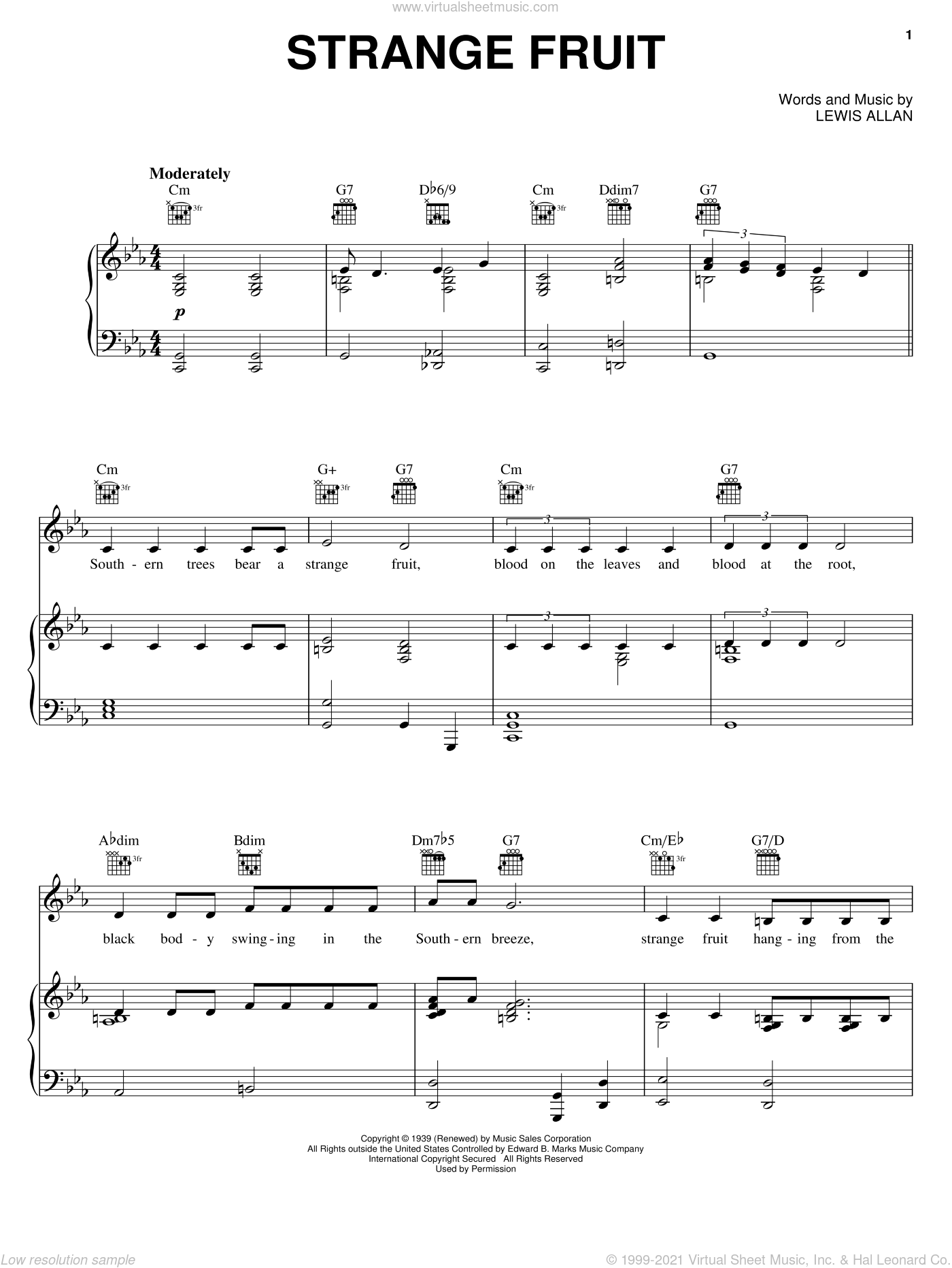 Strange Fruit sheet music for voice, piano or guitar by Billie Holiday and Lewis Allan, intermediate skill level
