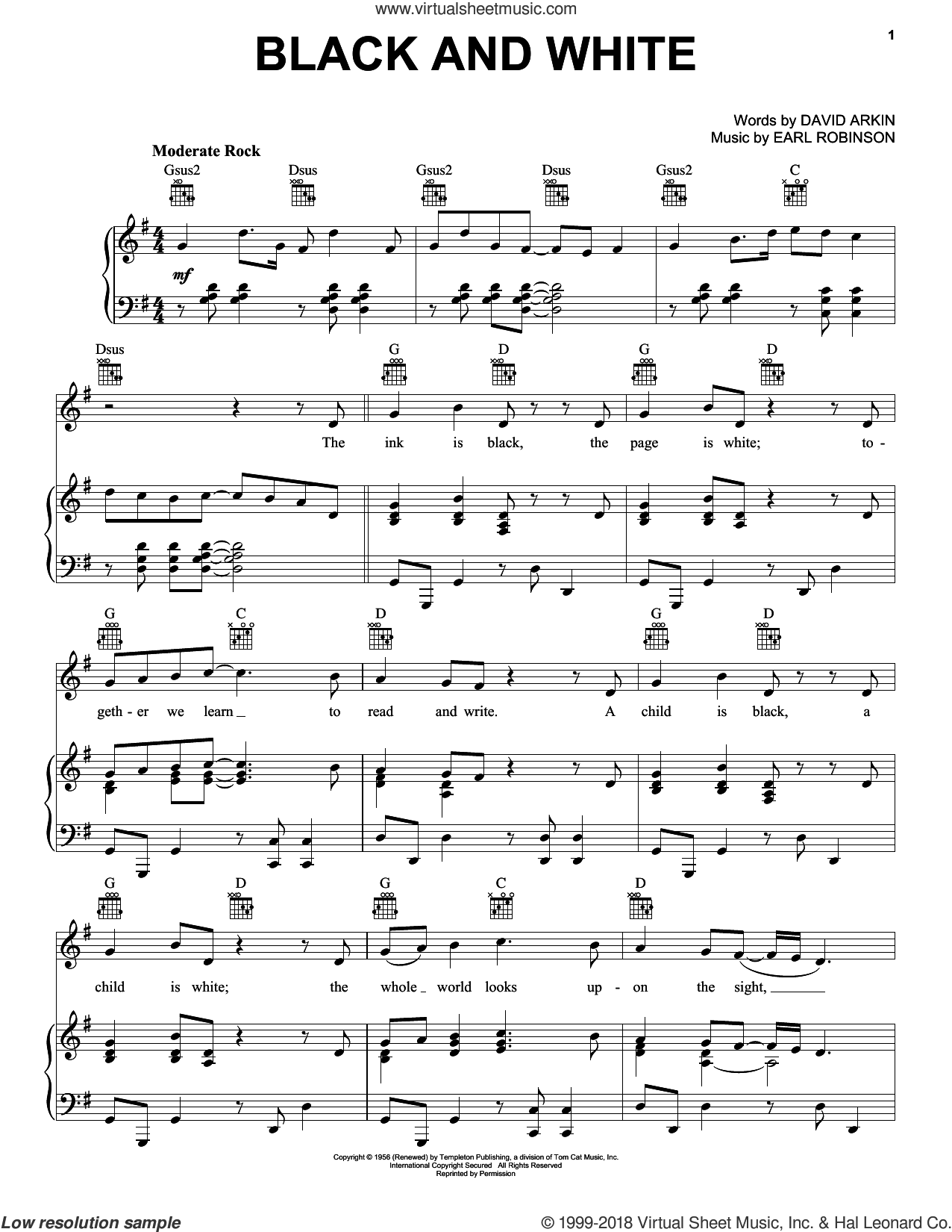 Black And White sheet music for voice, piano or guitar by Three Dog Night and Earl Robinson. Score Image Preview.