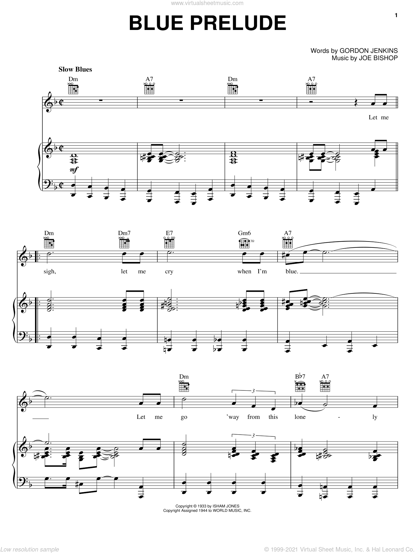 Blue Prelude sheet music for voice, piano or guitar by Joe Bishop