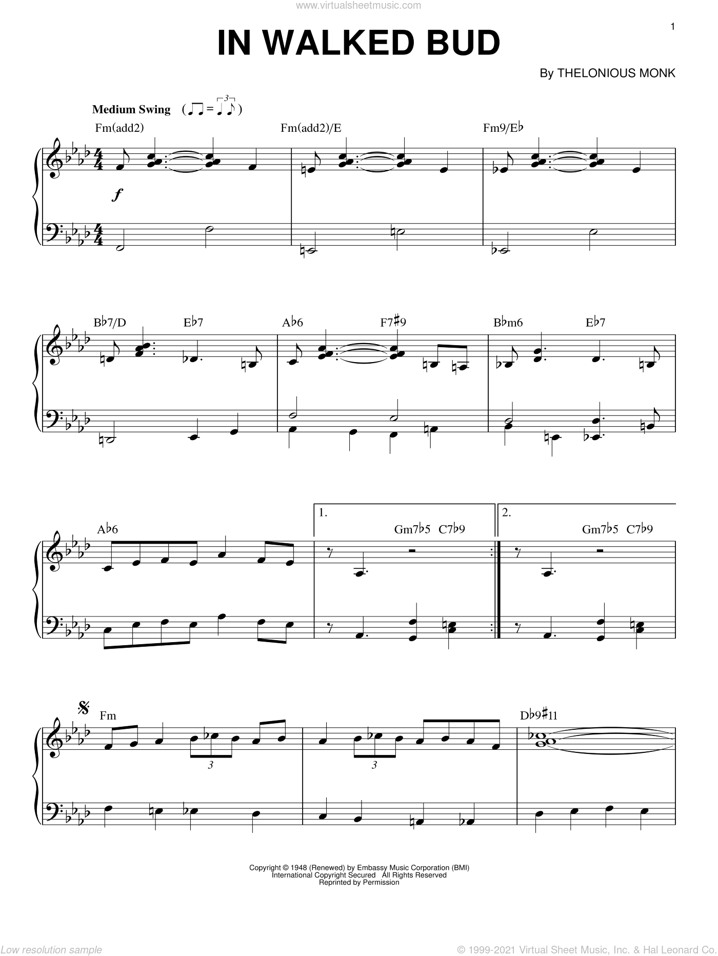 In Walked Bud sheet music for piano solo by Thelonious Monk, intermediate skill level
