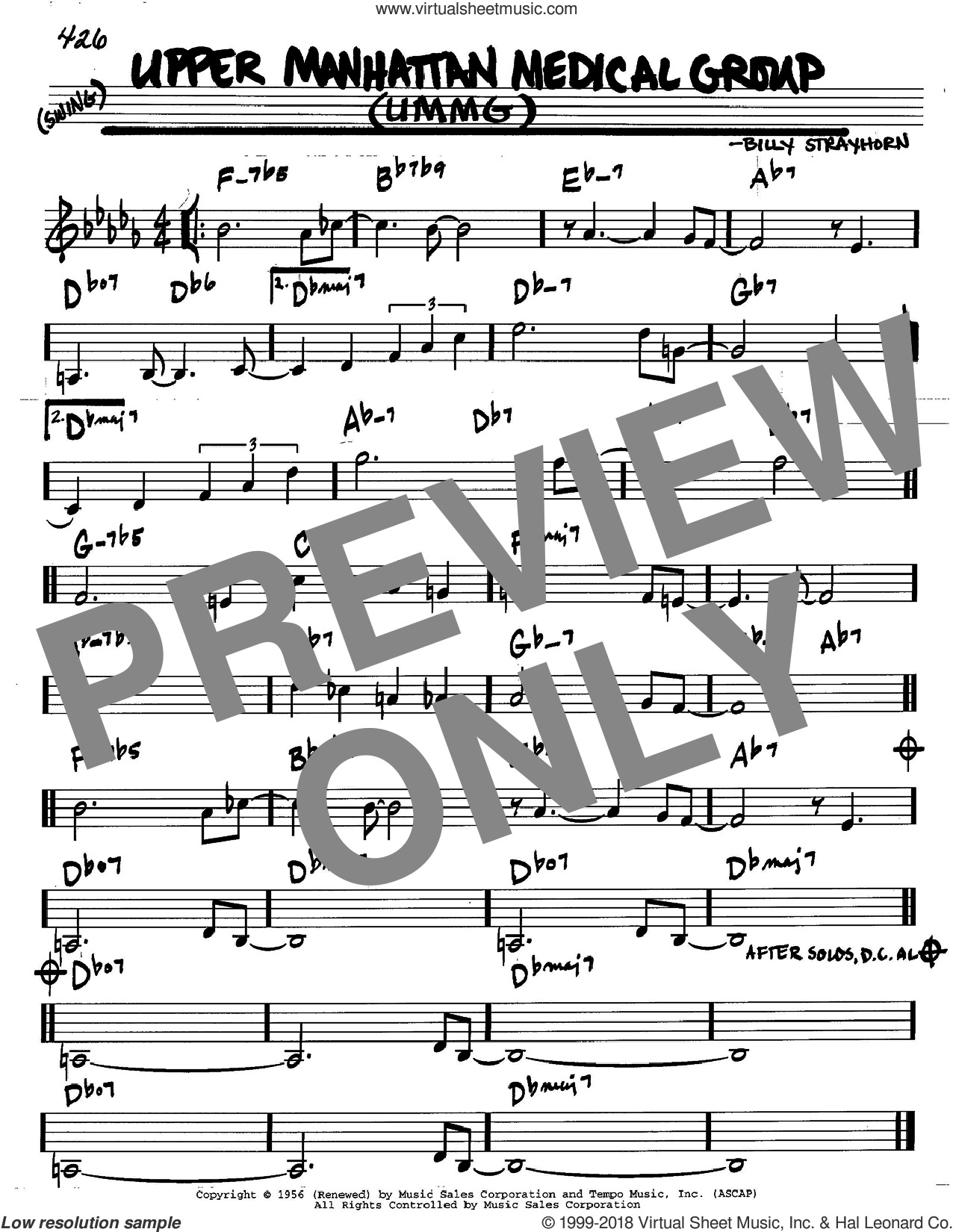 Upper Manhattan Medical Group (UMMG) sheet music for voice and other instruments (C) by Billy Strayhorn. Score Image Preview.