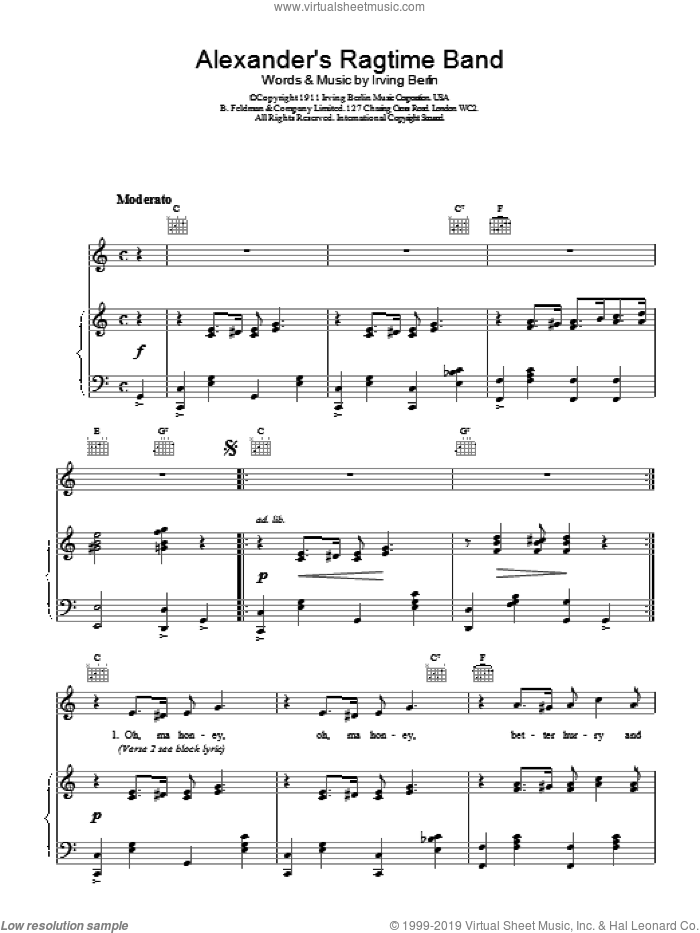 Alexander's Ragtime Band sheet music for voice, piano or guitar by Irving Berlin