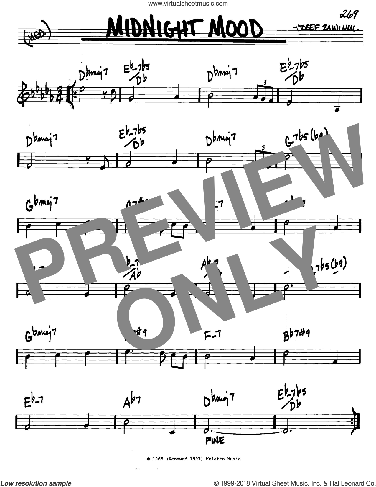 Midnight Mood sheet music for voice and other instruments (in C) by Josef Zawinul, Bill Evans and Ben Raleigh, intermediate