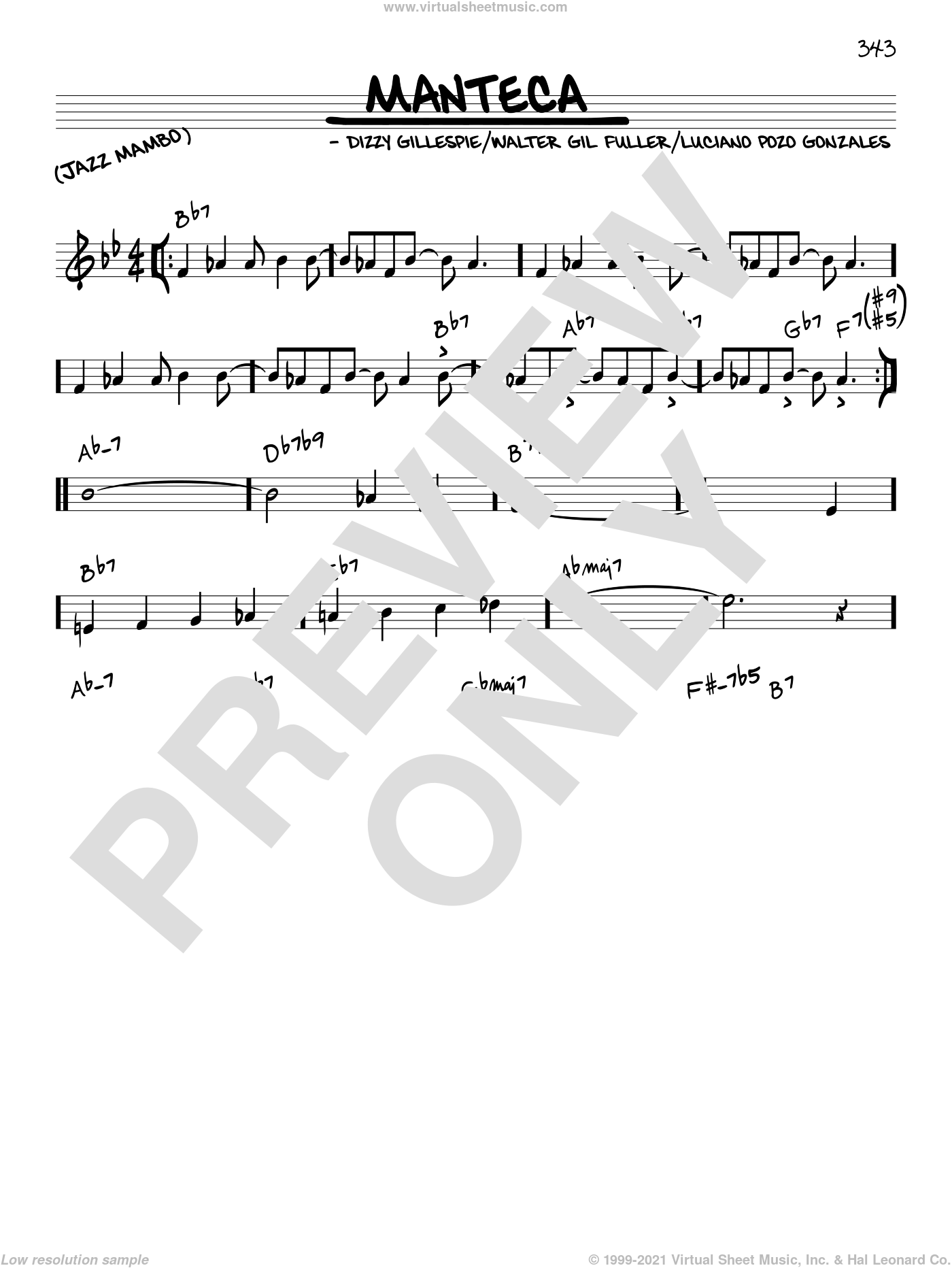 Manteca sheet music for voice and other instruments (in C) by Dizzy Gillespie, Luciano Pozo Gonzales and Walter Gil Fuller, intermediate skill level