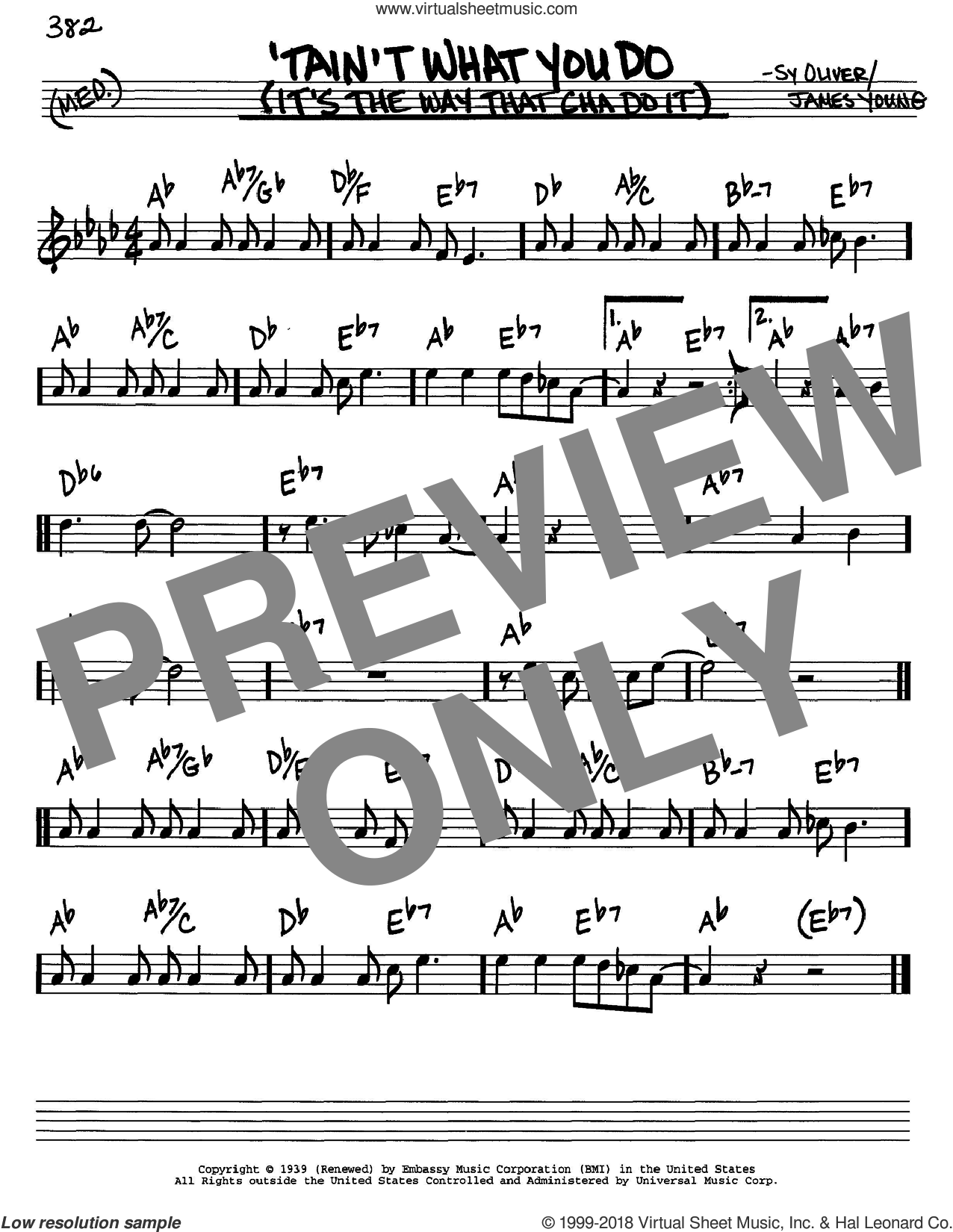 'Tain't What You Do (It's The Way That Cha Do It) sheet music for voice and other instruments (in C) by Ella Fitzgerald and Sy Oliver, intermediate