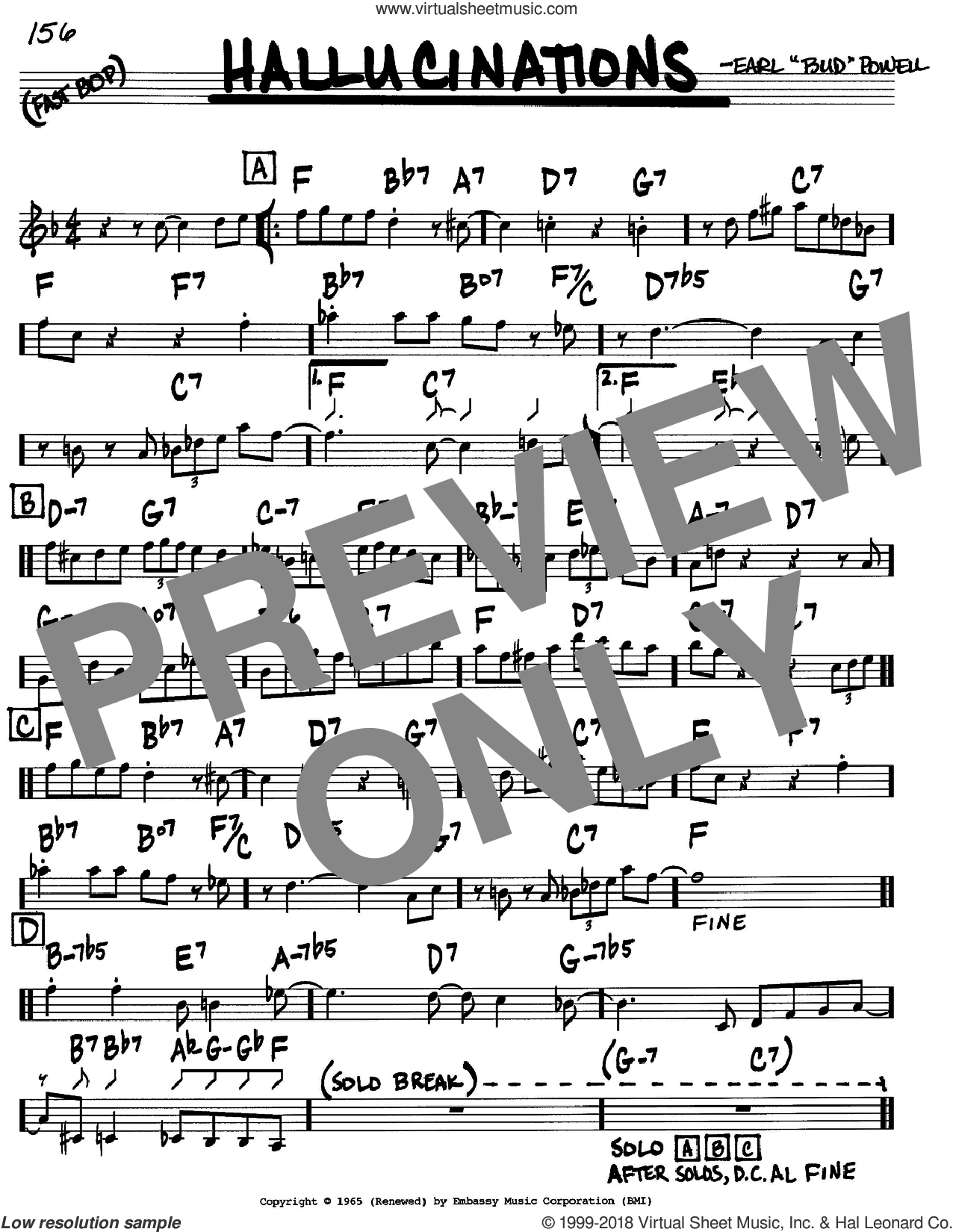Hallucinations sheet music for voice and other instruments (C) by Bud Powell. Score Image Preview.