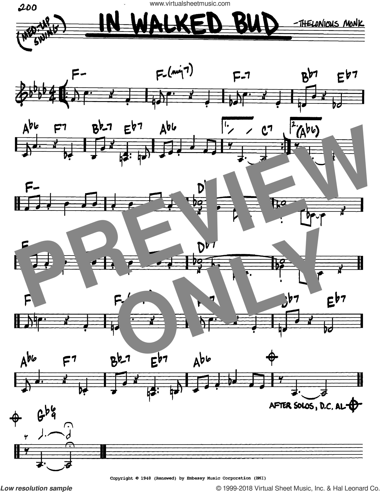 In Walked Bud sheet music for voice and other instruments (in C) by Thelonious Monk, intermediate. Score Image Preview.