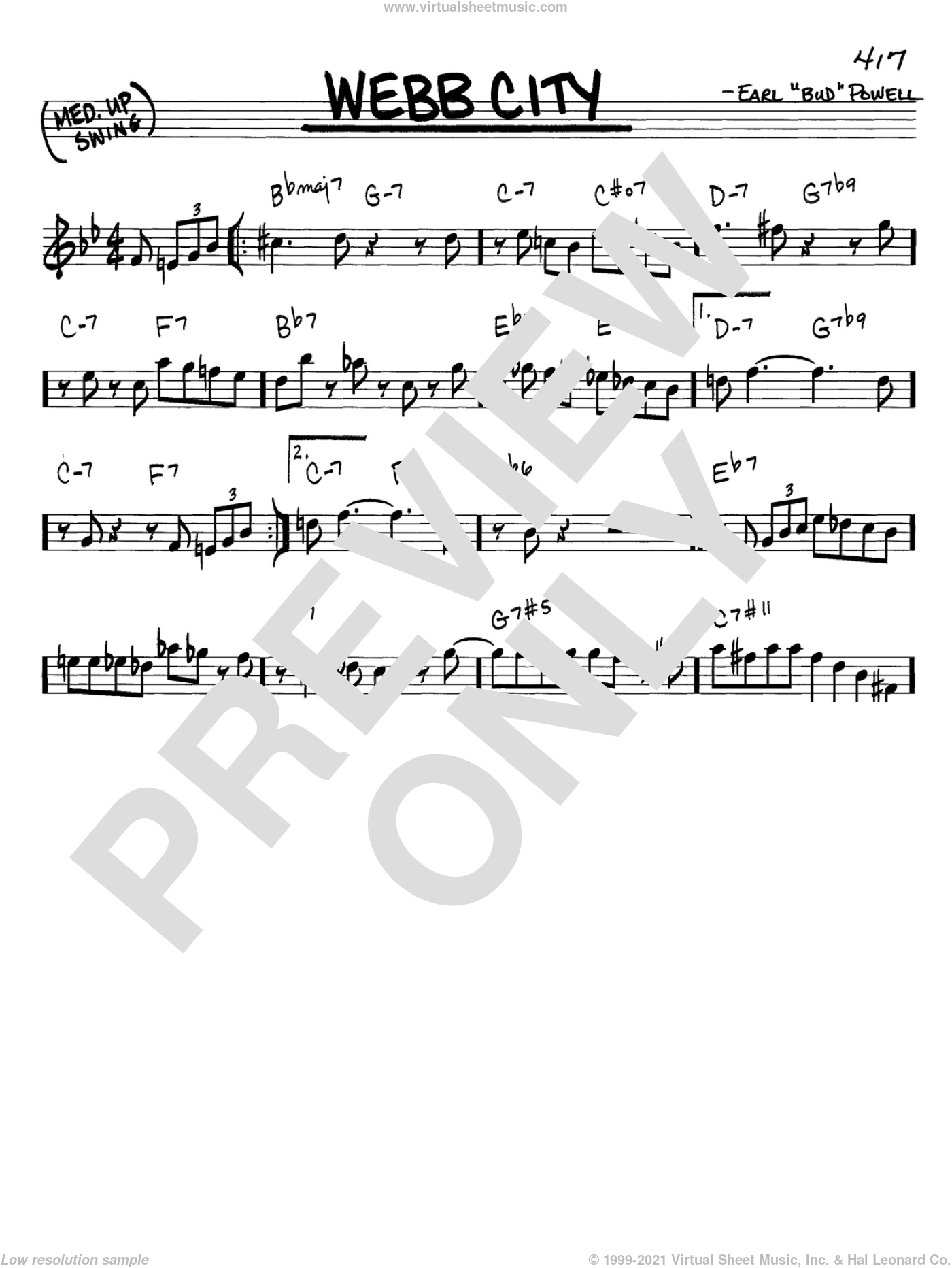 Webb City sheet music for voice and other instruments (C) by Bud Powell. Score Image Preview.